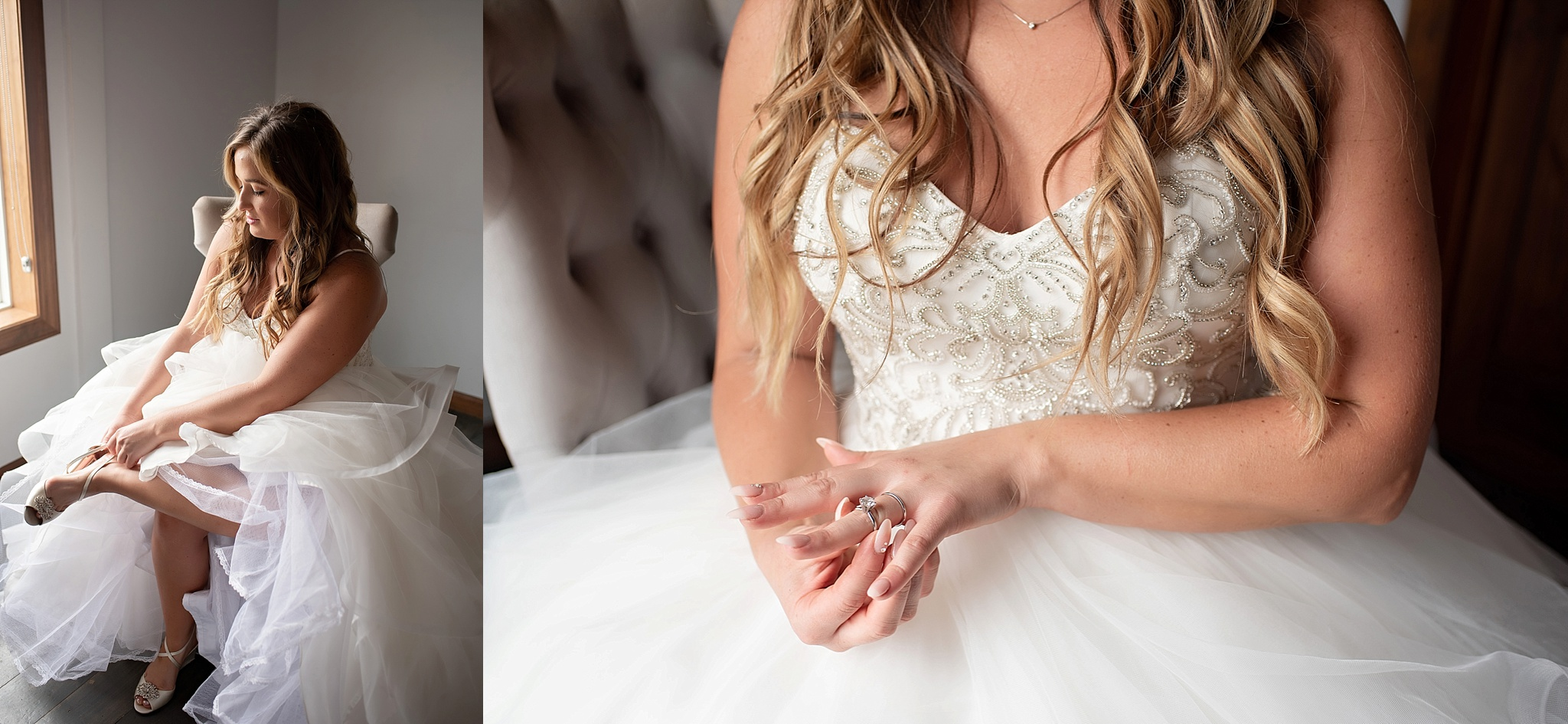 bride puts on her shoes and wedding ring set on her wedding day