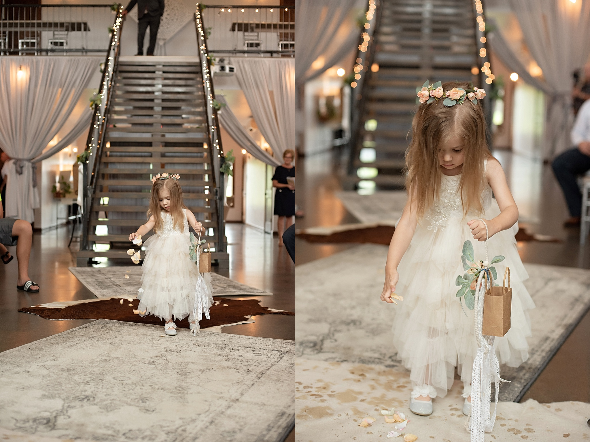 flower girl walks along vintage rugs down the aisle