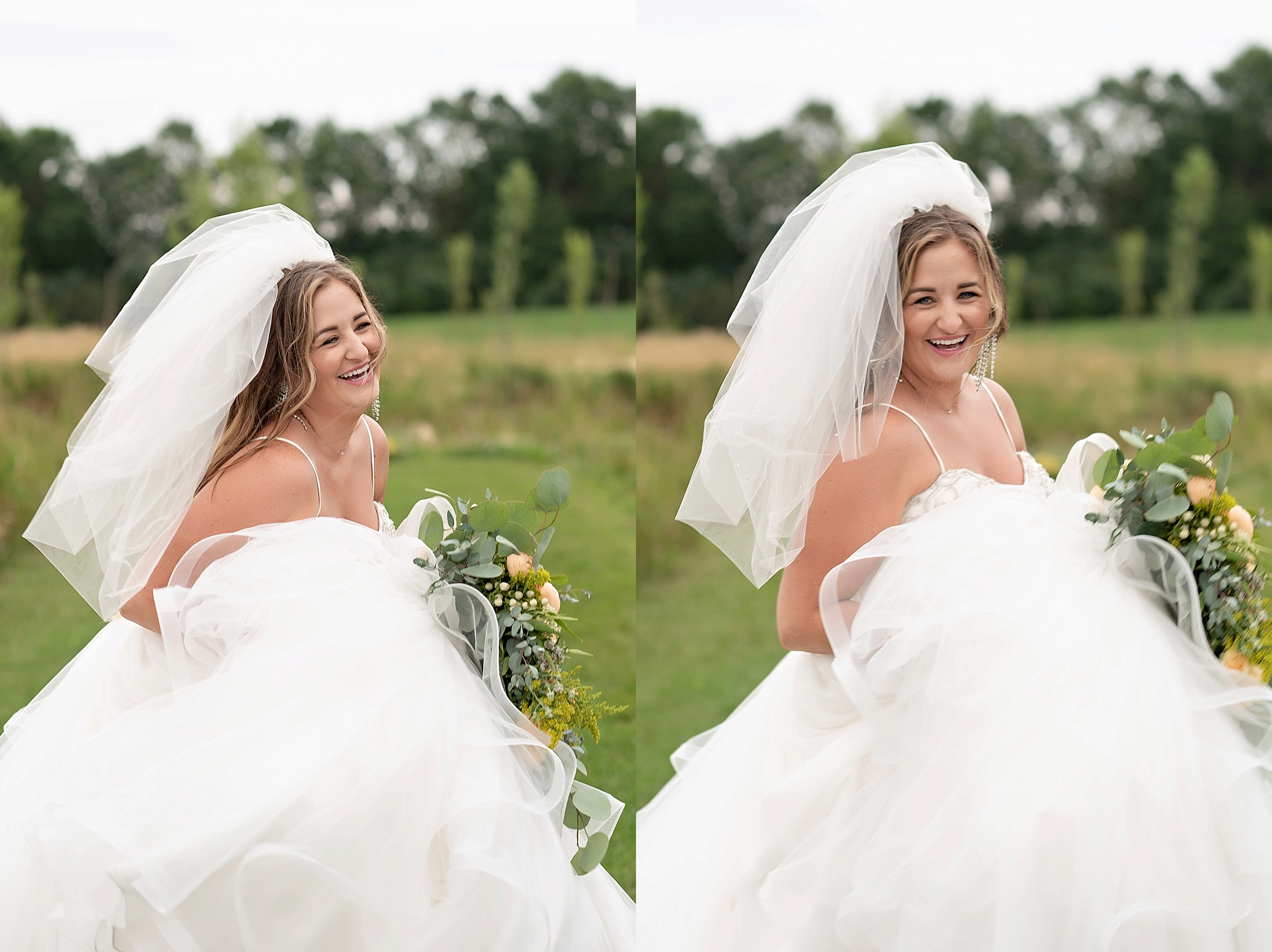 happy bride twirls in her dress mid length veil