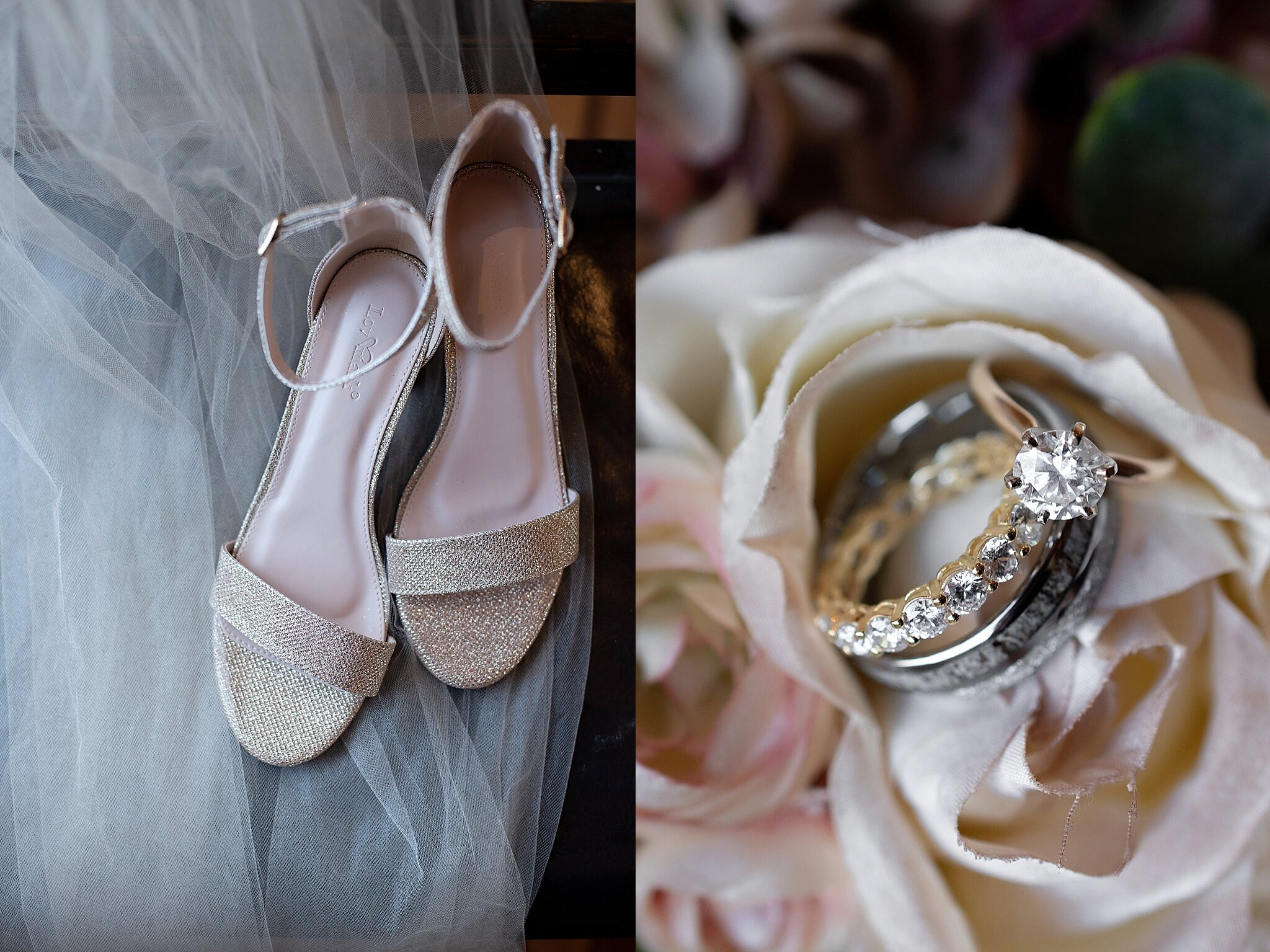 champagne sparkle wedding shoes and wedding ring set