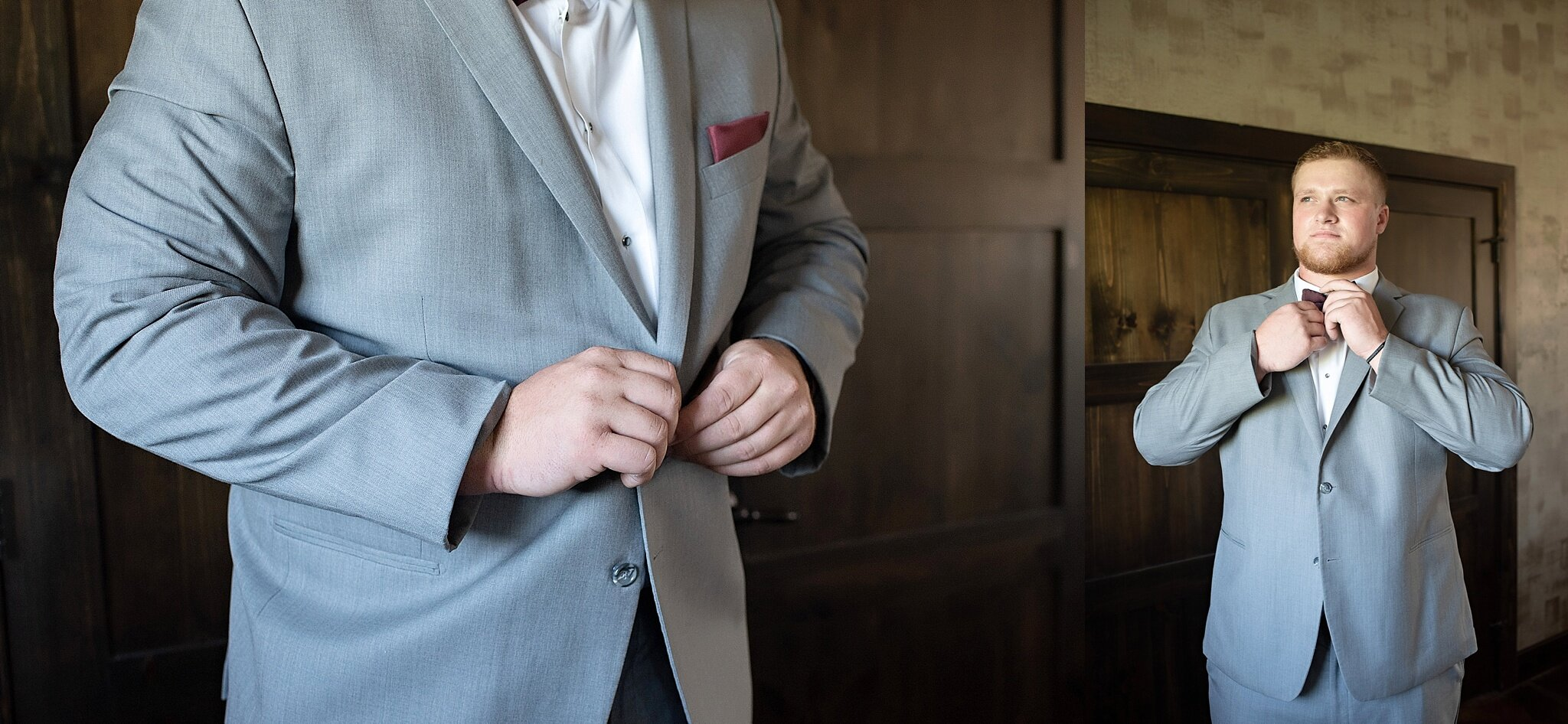 groom buttons gray suit with burgundy bow tie and pocket square