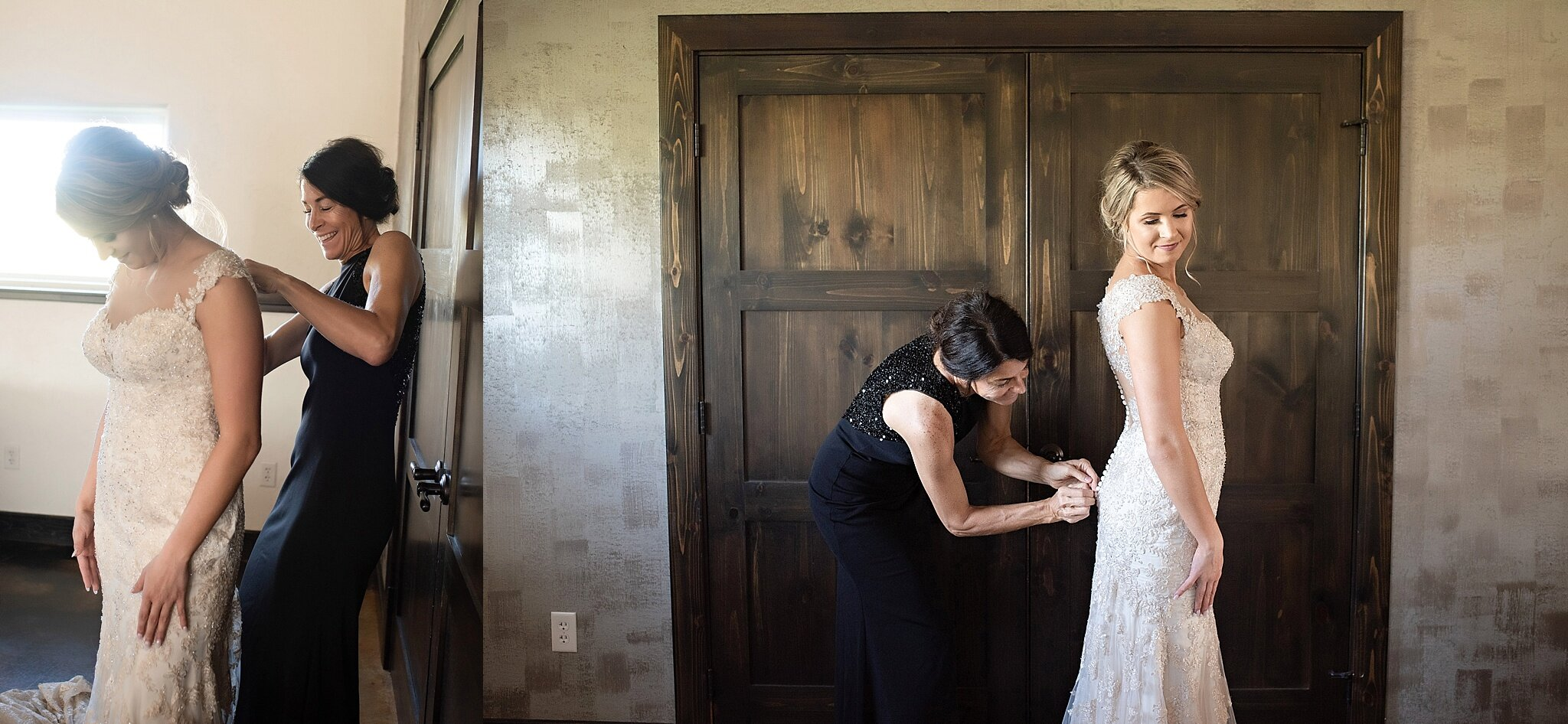 mother of the bride in black gown helps bride get ready inwood iowa