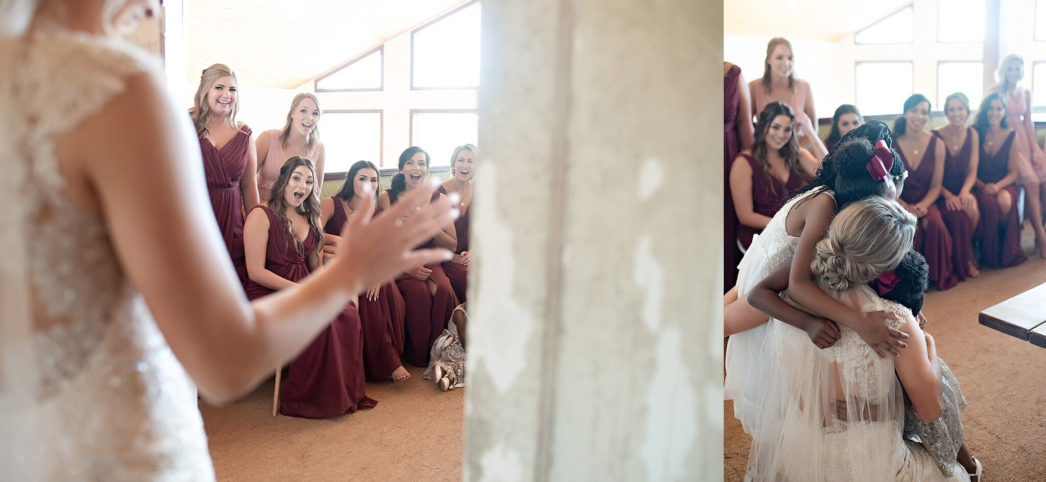 bride shows bridesmaids her final look on her wedding day