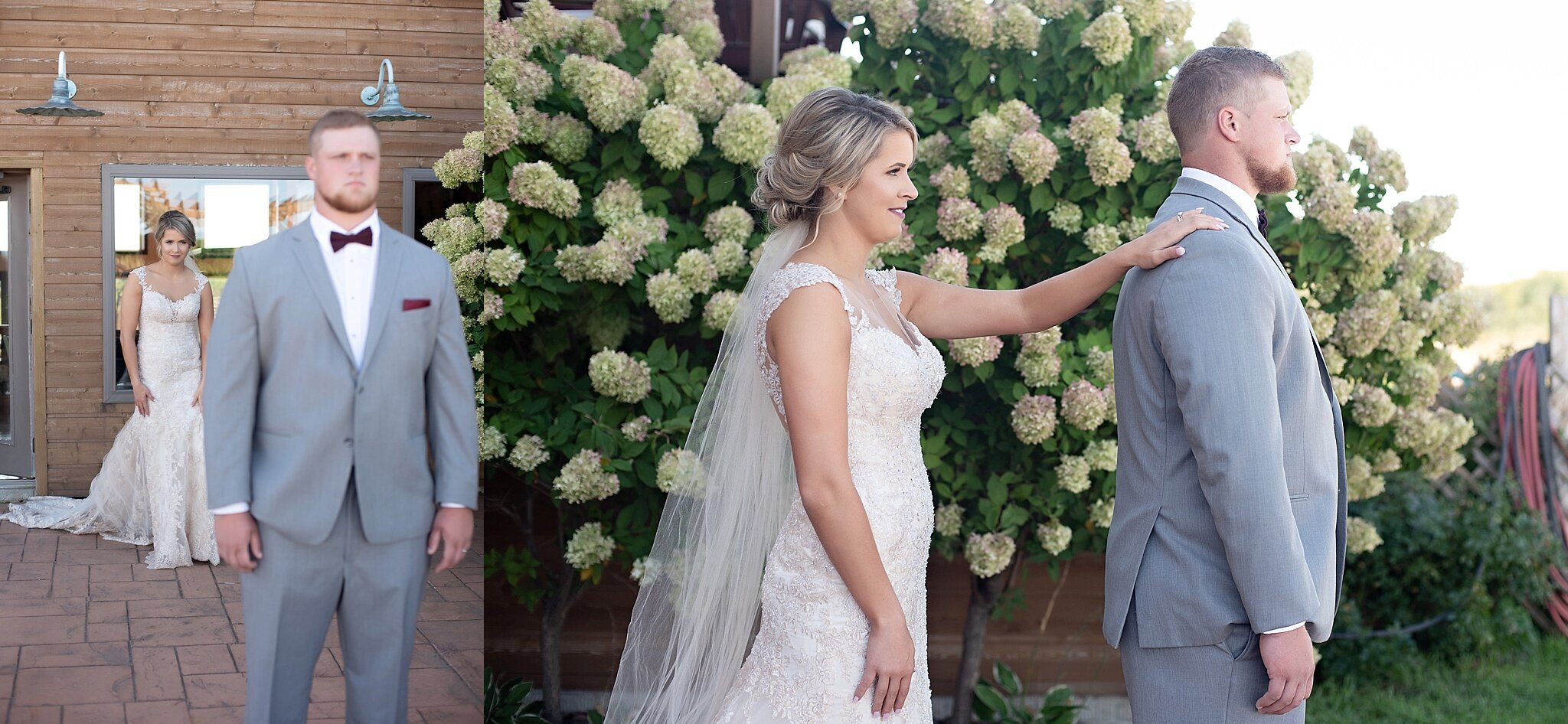 first look with bride and groom calico skies winery kate jones studios sioux falls south dakota