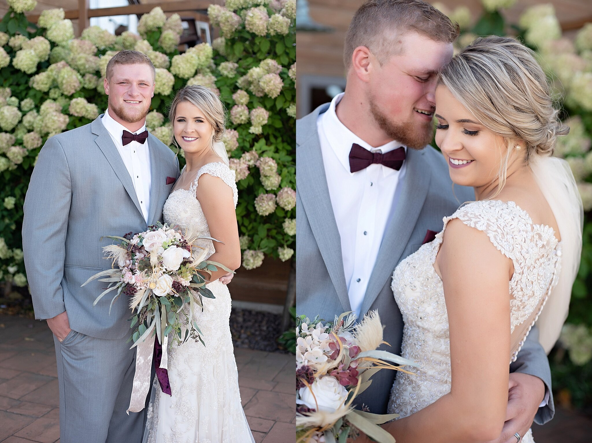 bride and groom portraits green hydrangeas