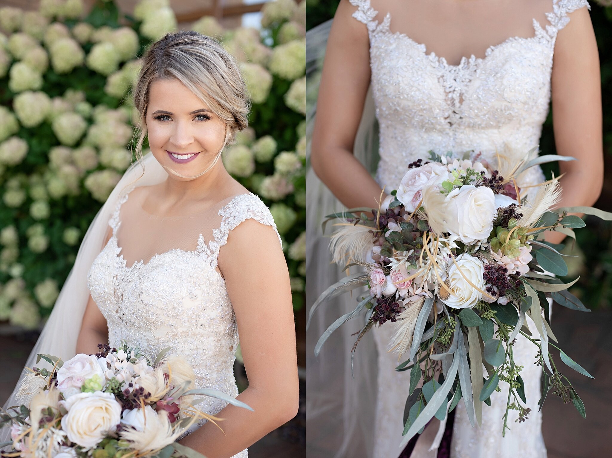 lace bridal gown and burgundy and blush florals