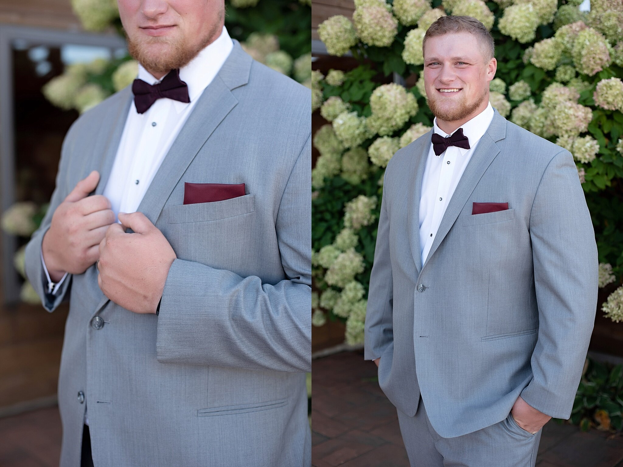 gray groom suit with burgundy pocket square and bow tie