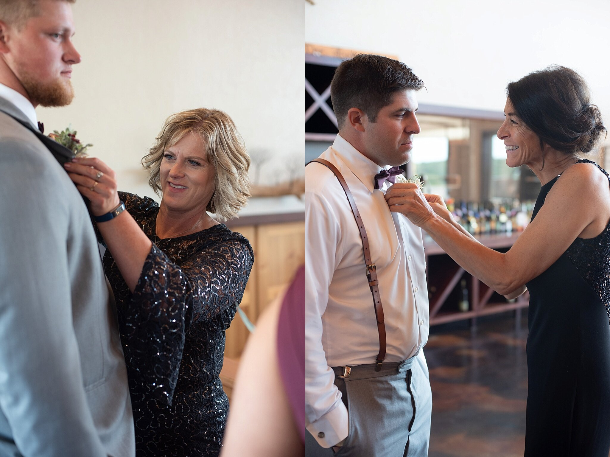 mother of the bride and mother of the groom put on boutonnieres