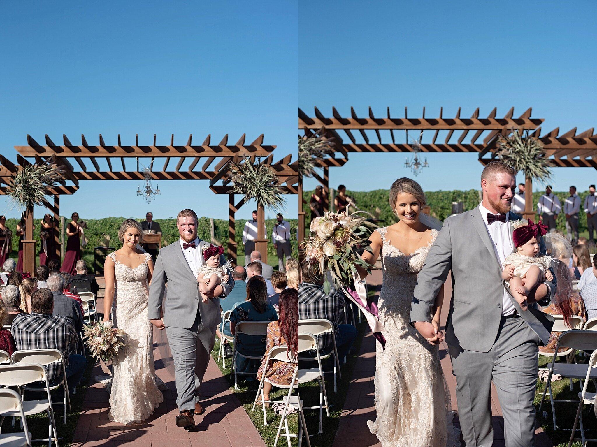 bride and groom just married winery wedding inwood iowa