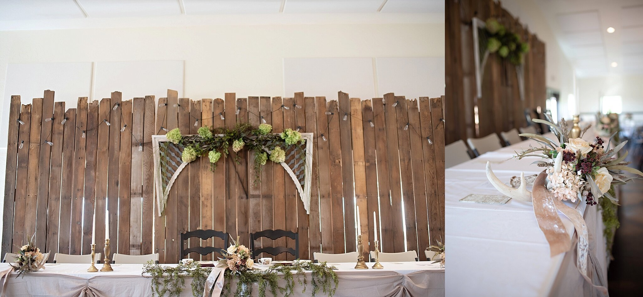 green hydrangeas and hunting theme wedding