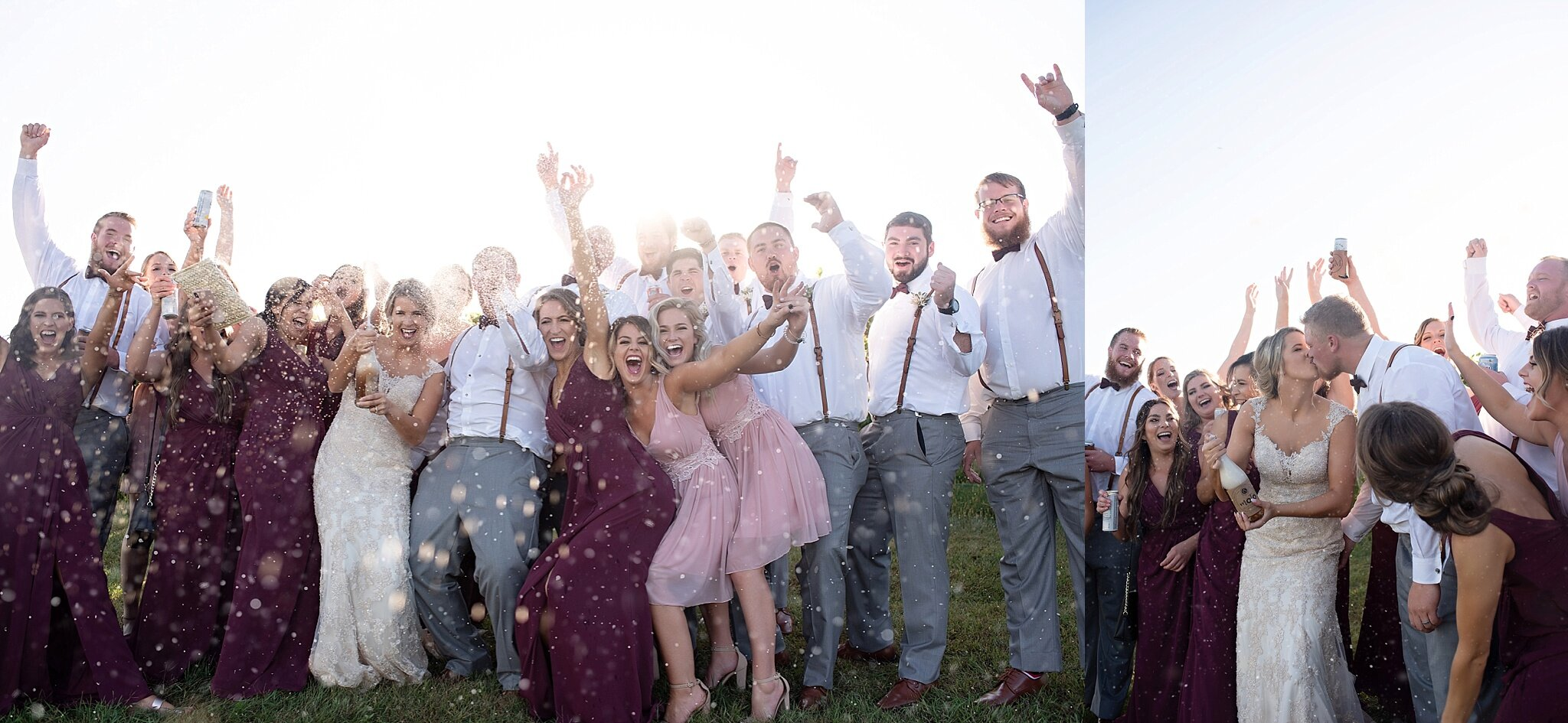 wedding party celebrates pop champagne