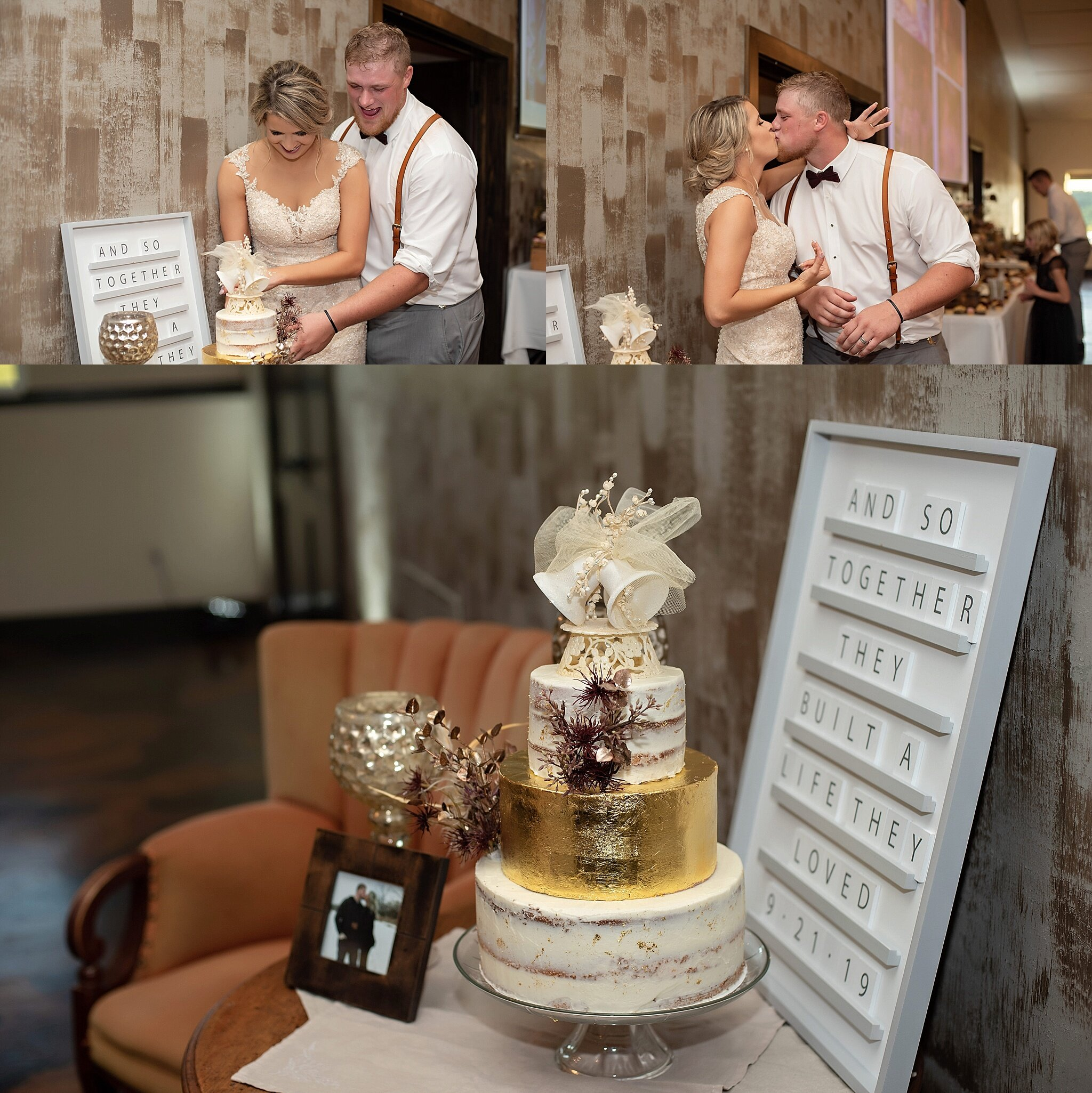 bride and groom cut three tier gold foil cake