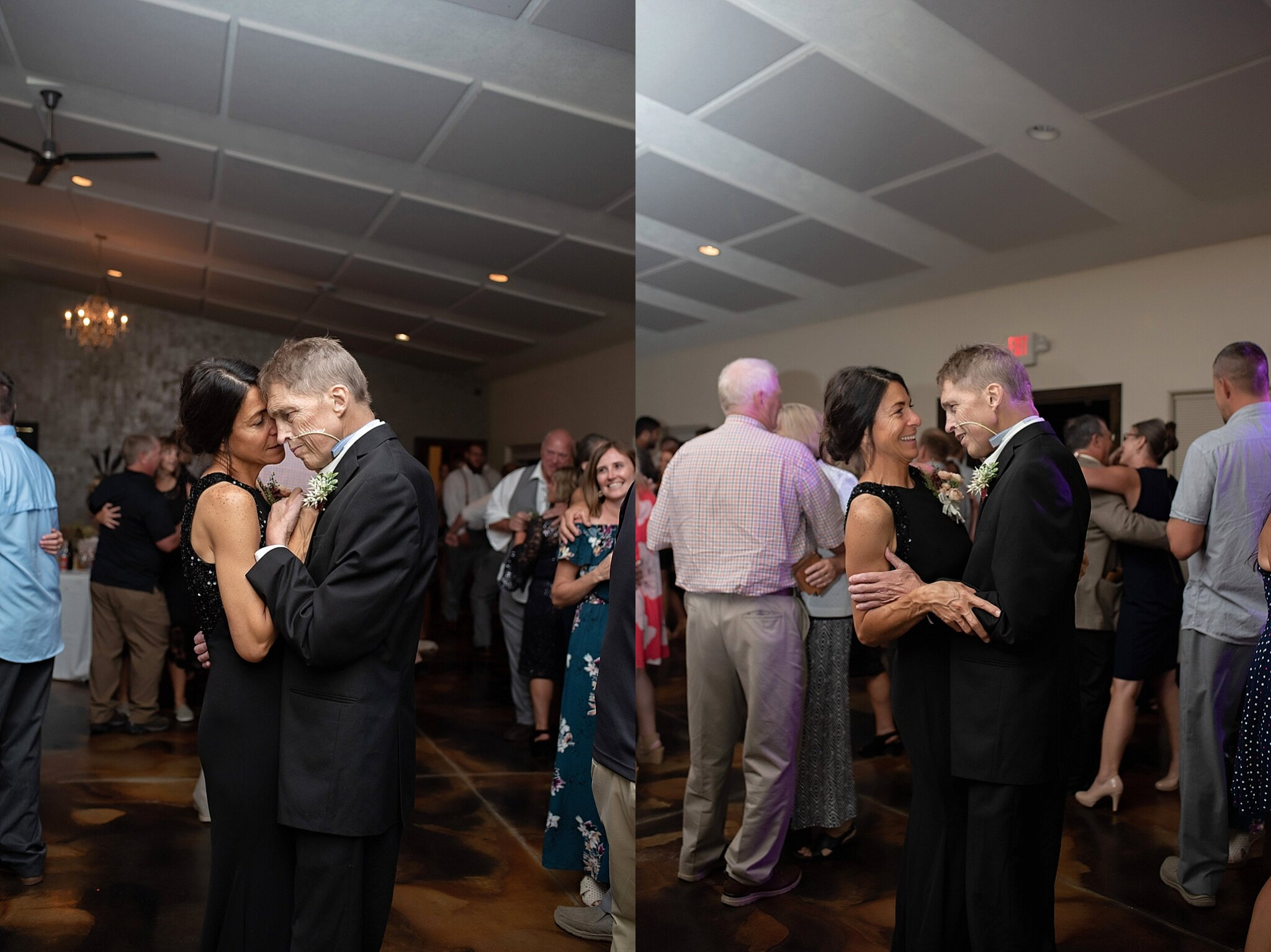cancer patient father dances with his wife at their daughters wedding