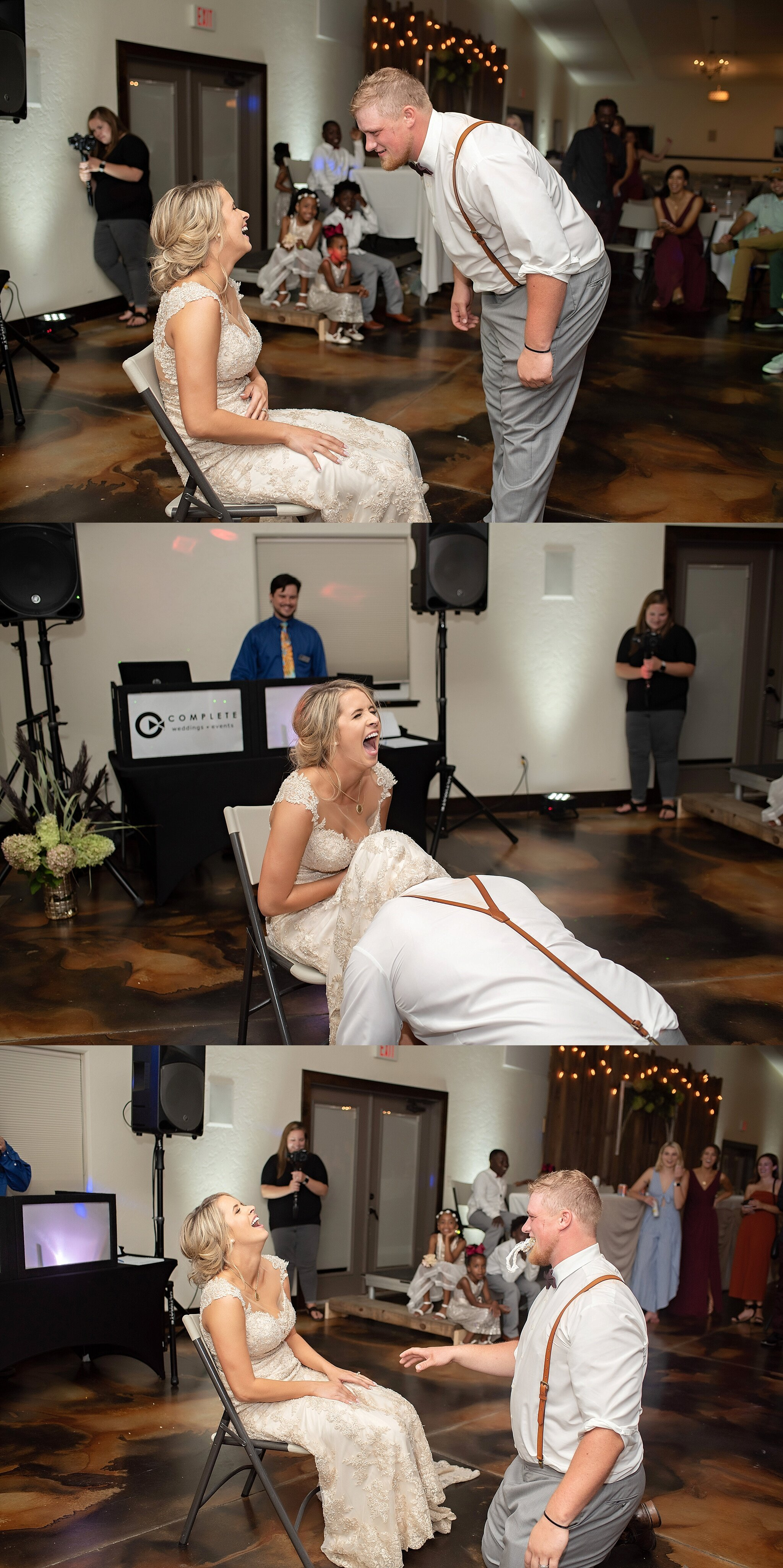 groom gets garter from under brides dress