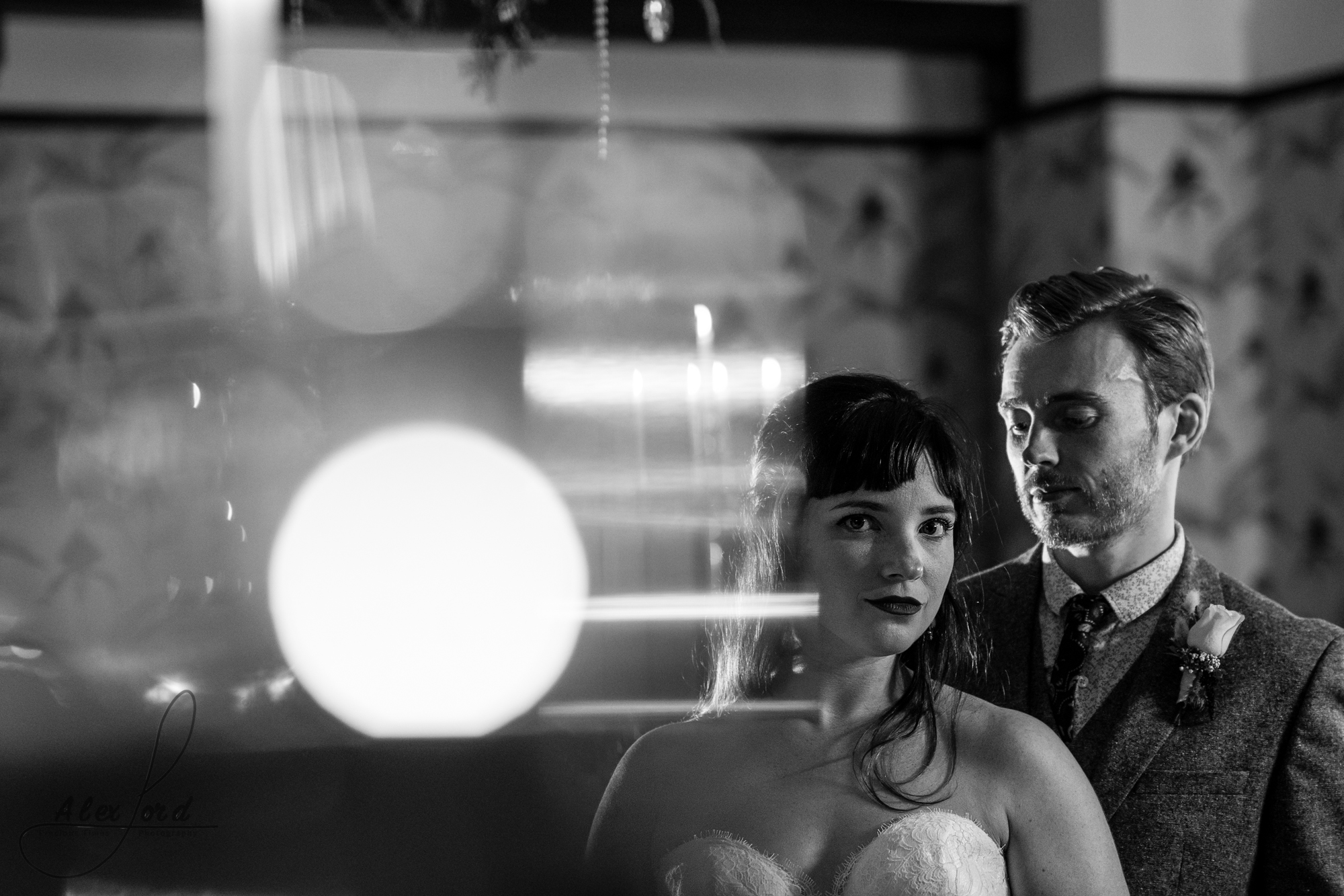 black and white photo of the bride and groom in the belle epoque