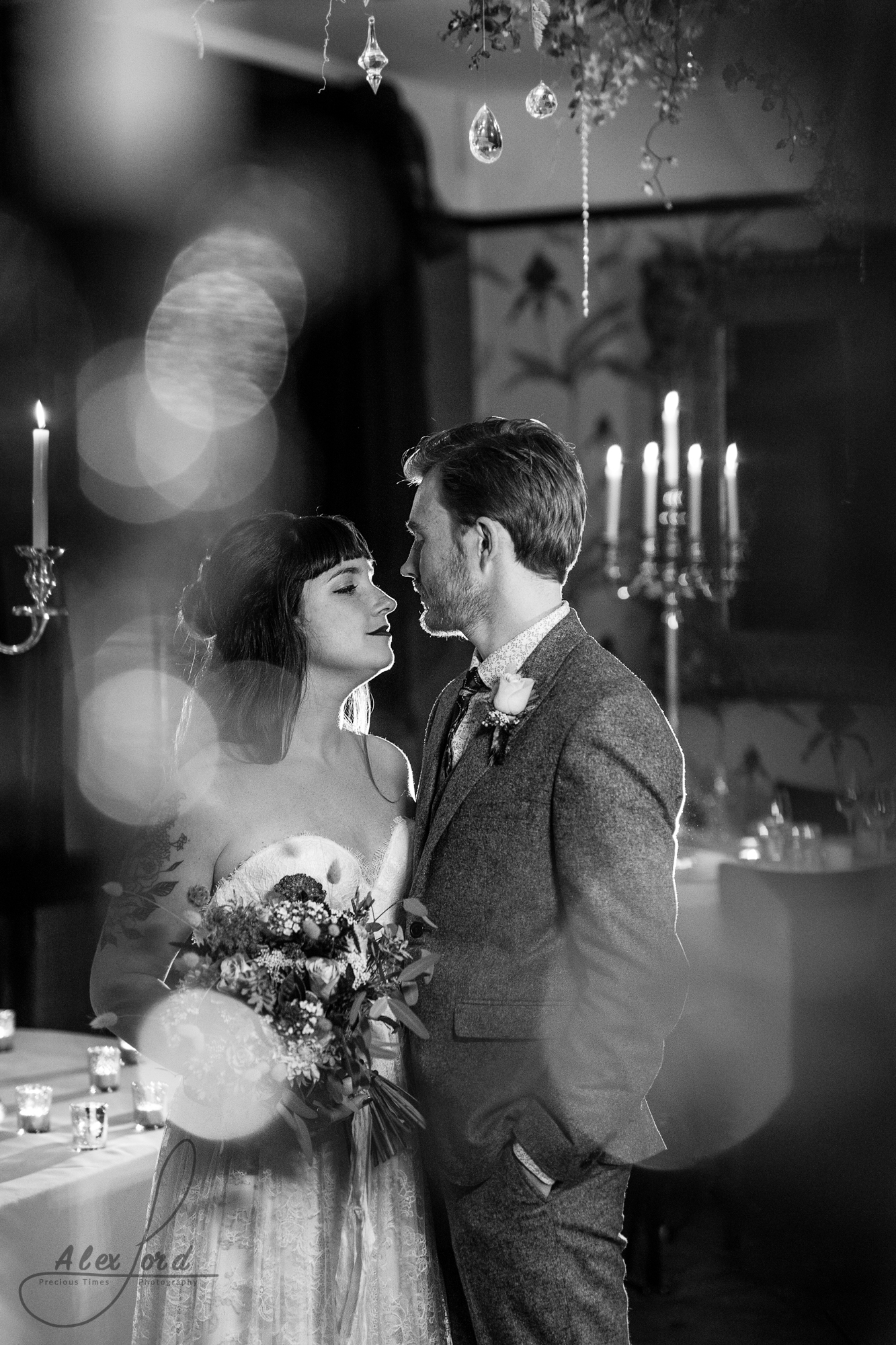 black and white portrait of the shropshire wedding couple