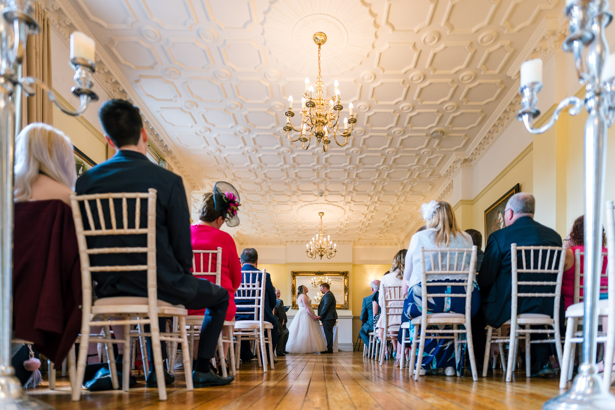 Wedding ceremony from the back of Nunsmere Hall