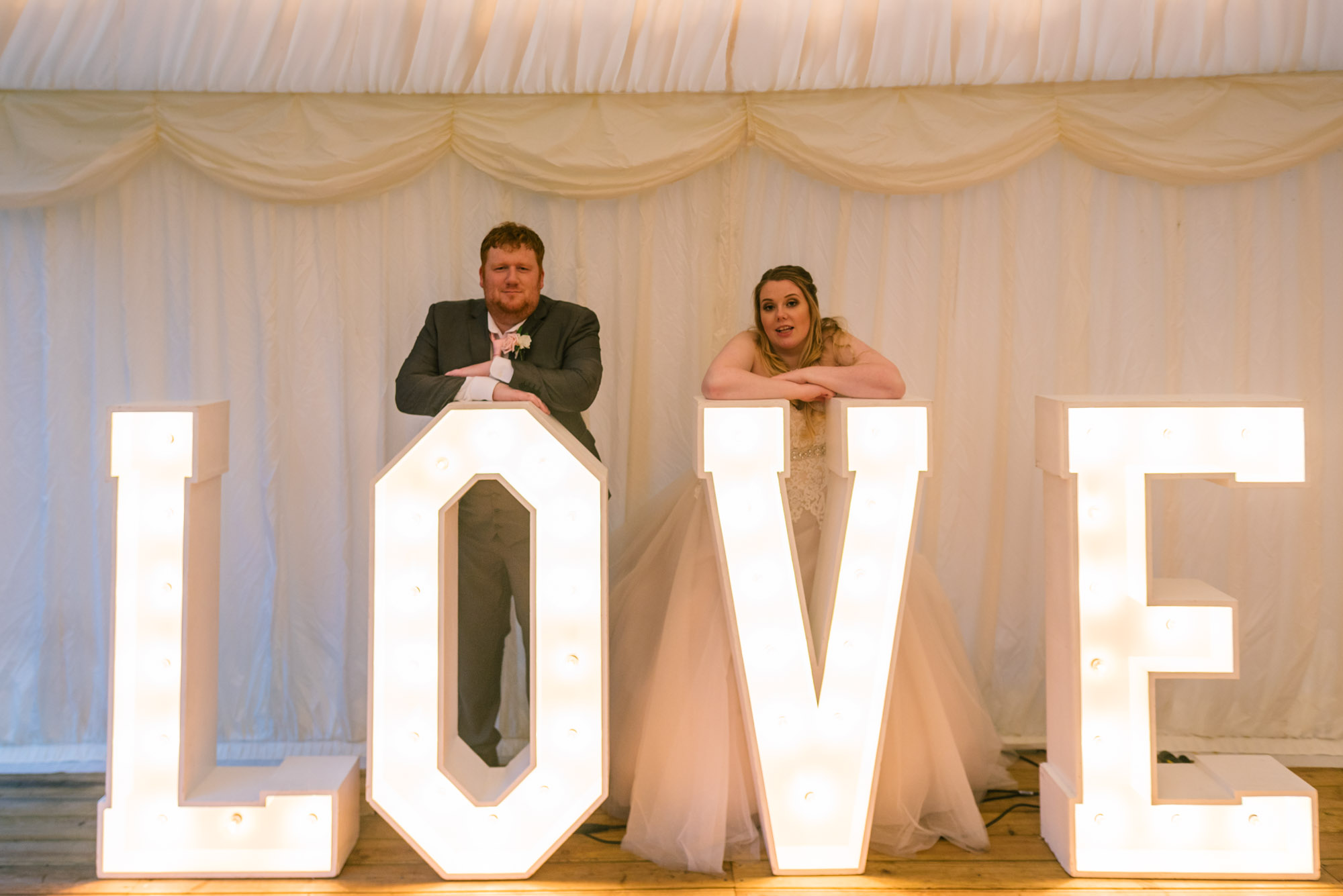 bride and groom hired love letters