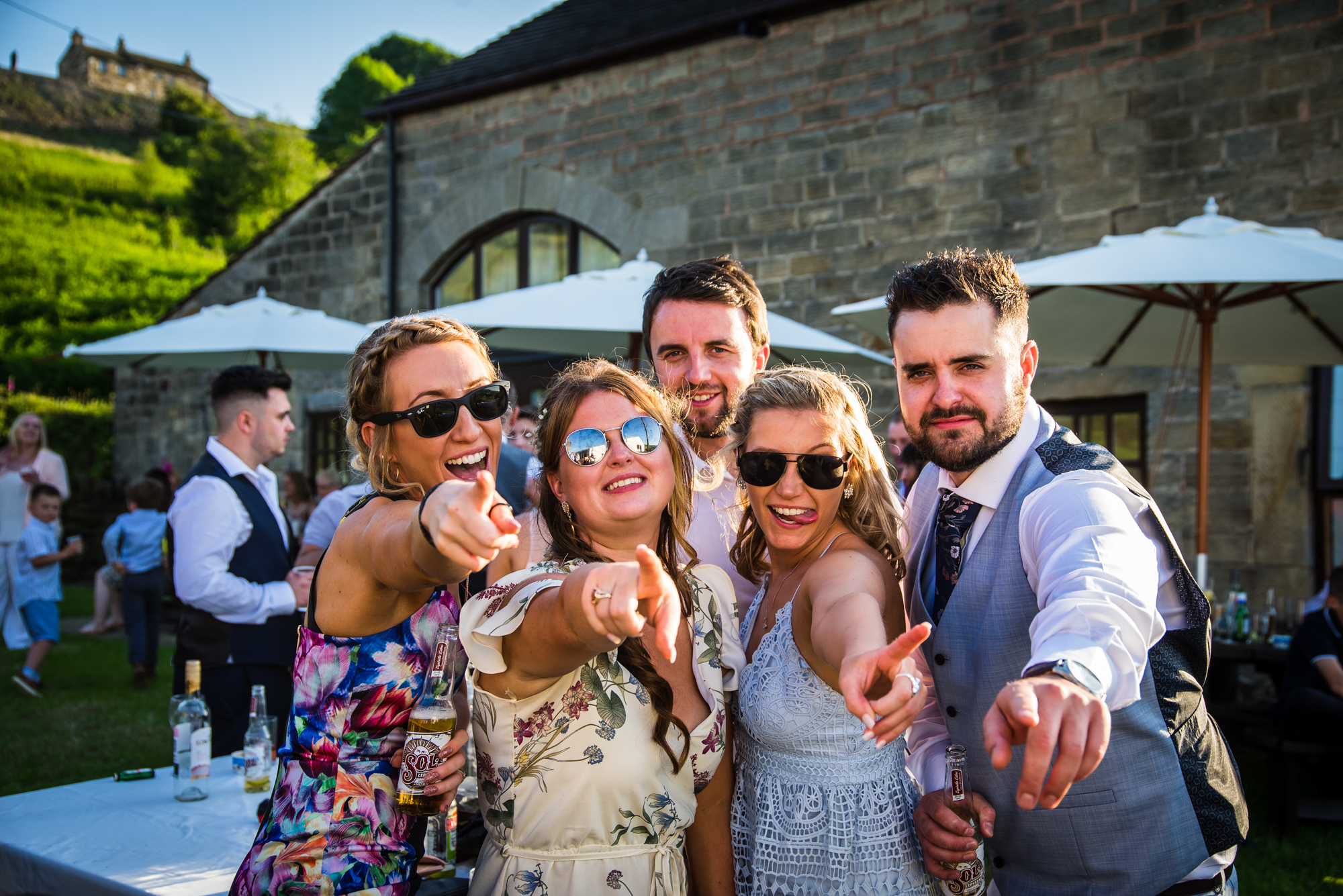 Guests having lots of fun at a wedding