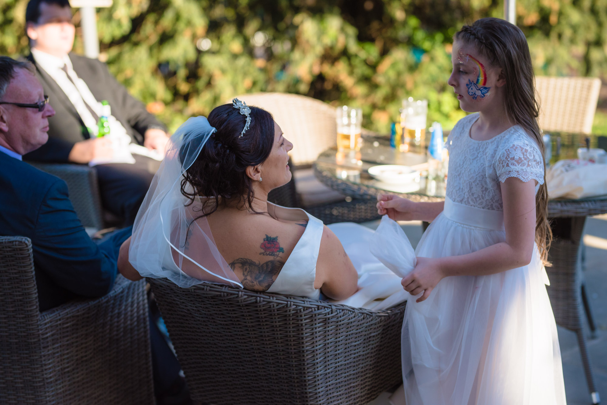 The Bride and bridesmaid share a moment