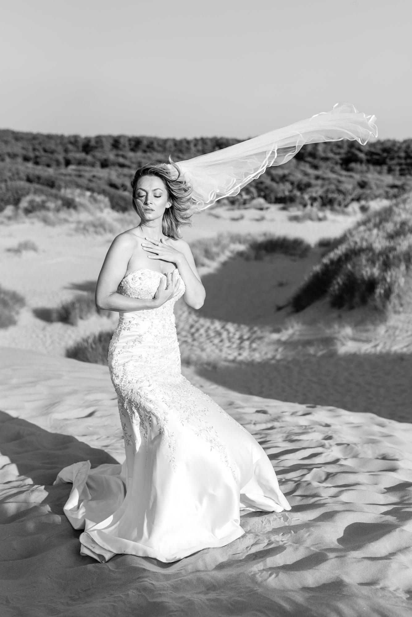 Veil full length in the wind