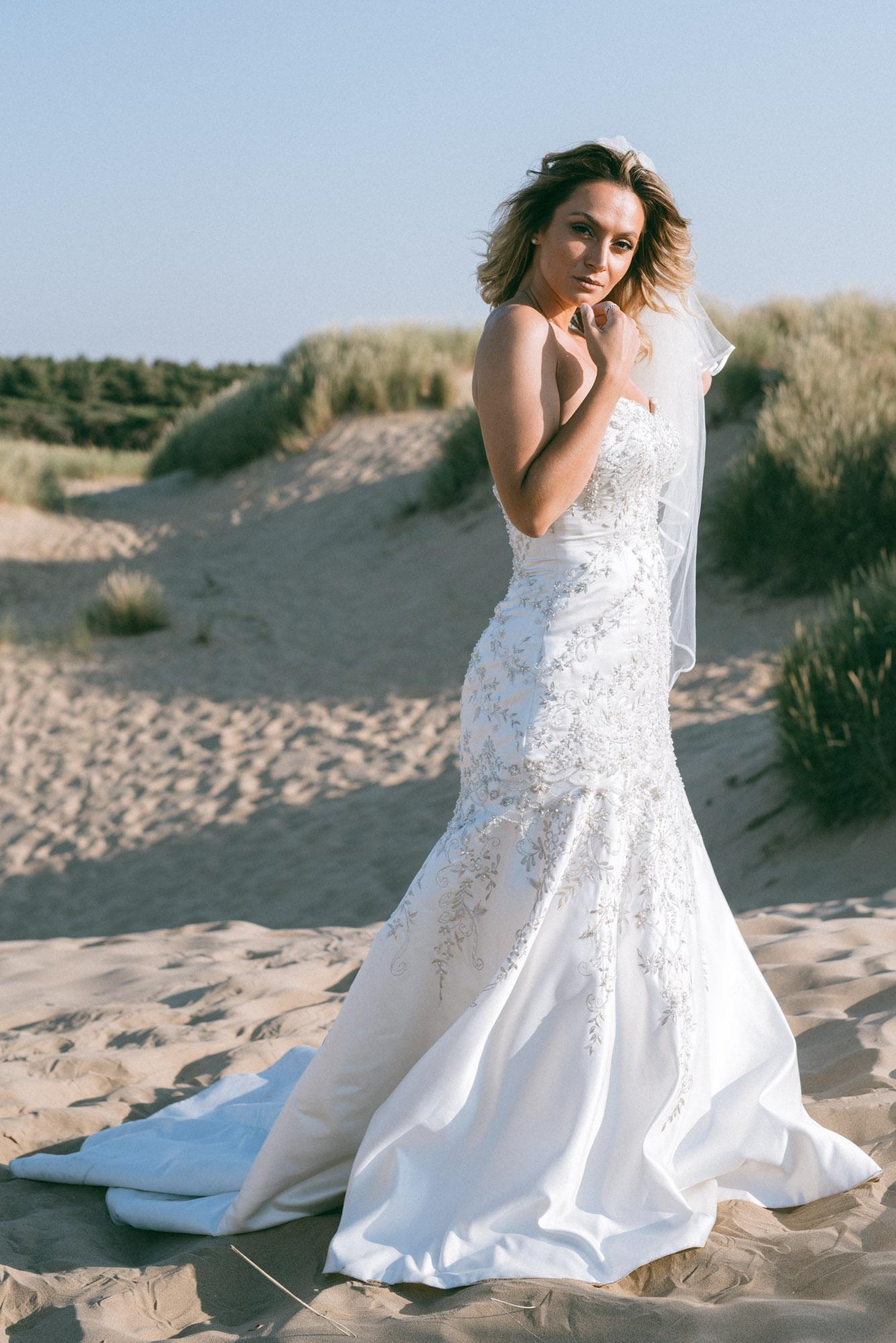 Wedding dress side view