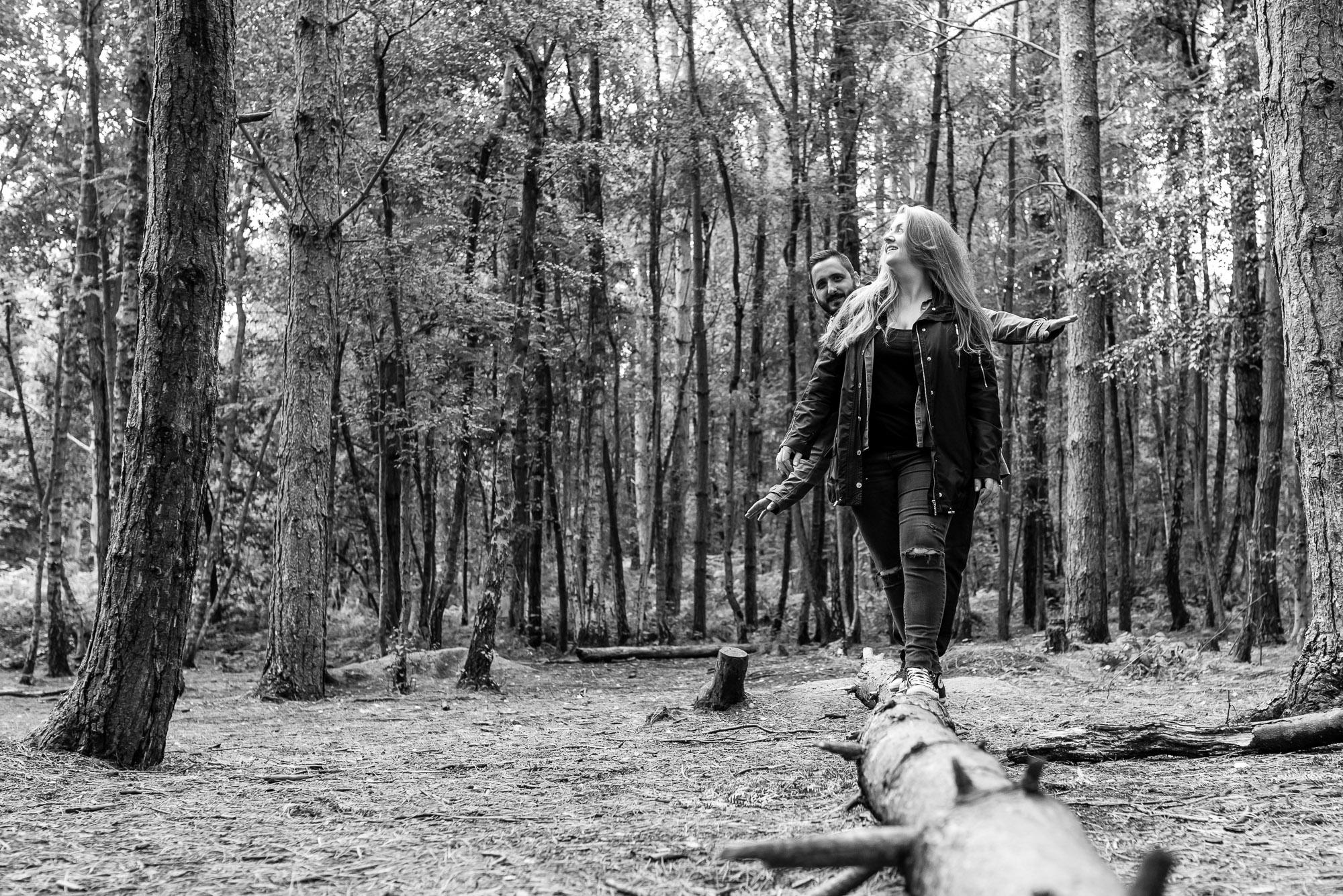 Pre-shoot walking on a log