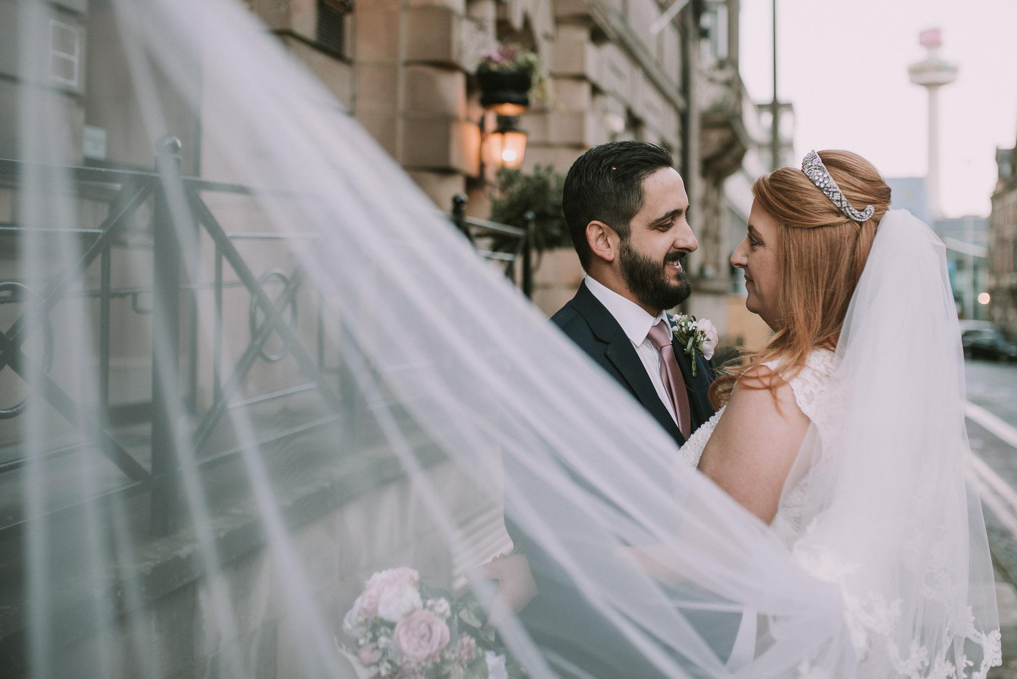Wedding portrait veil