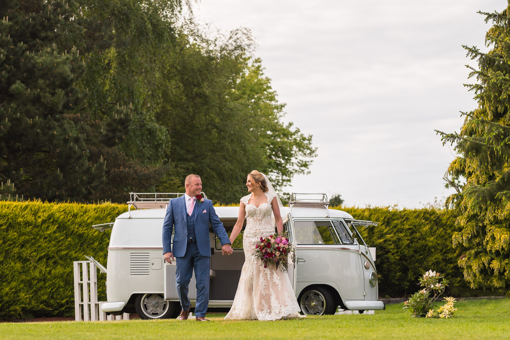 Newly weds and Phoebe the splitty camper