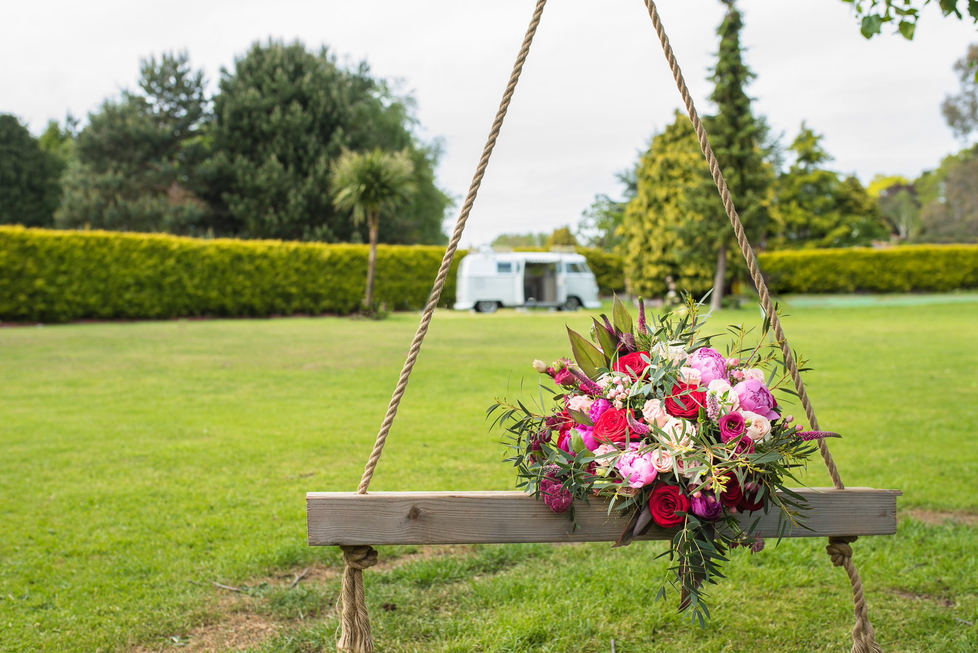 Bouquet and Camper Van