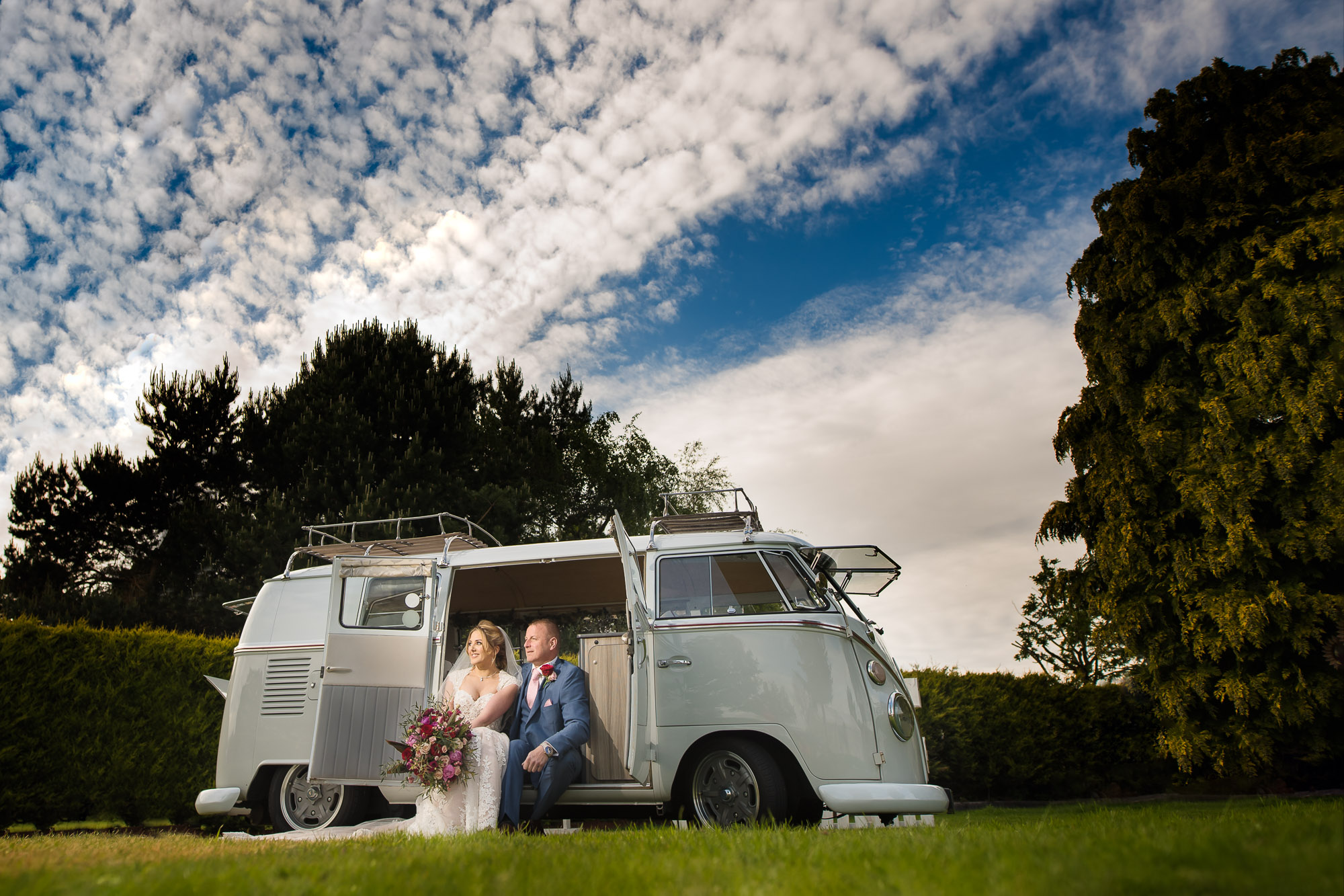Bride and Groom and Phoebe the Camper