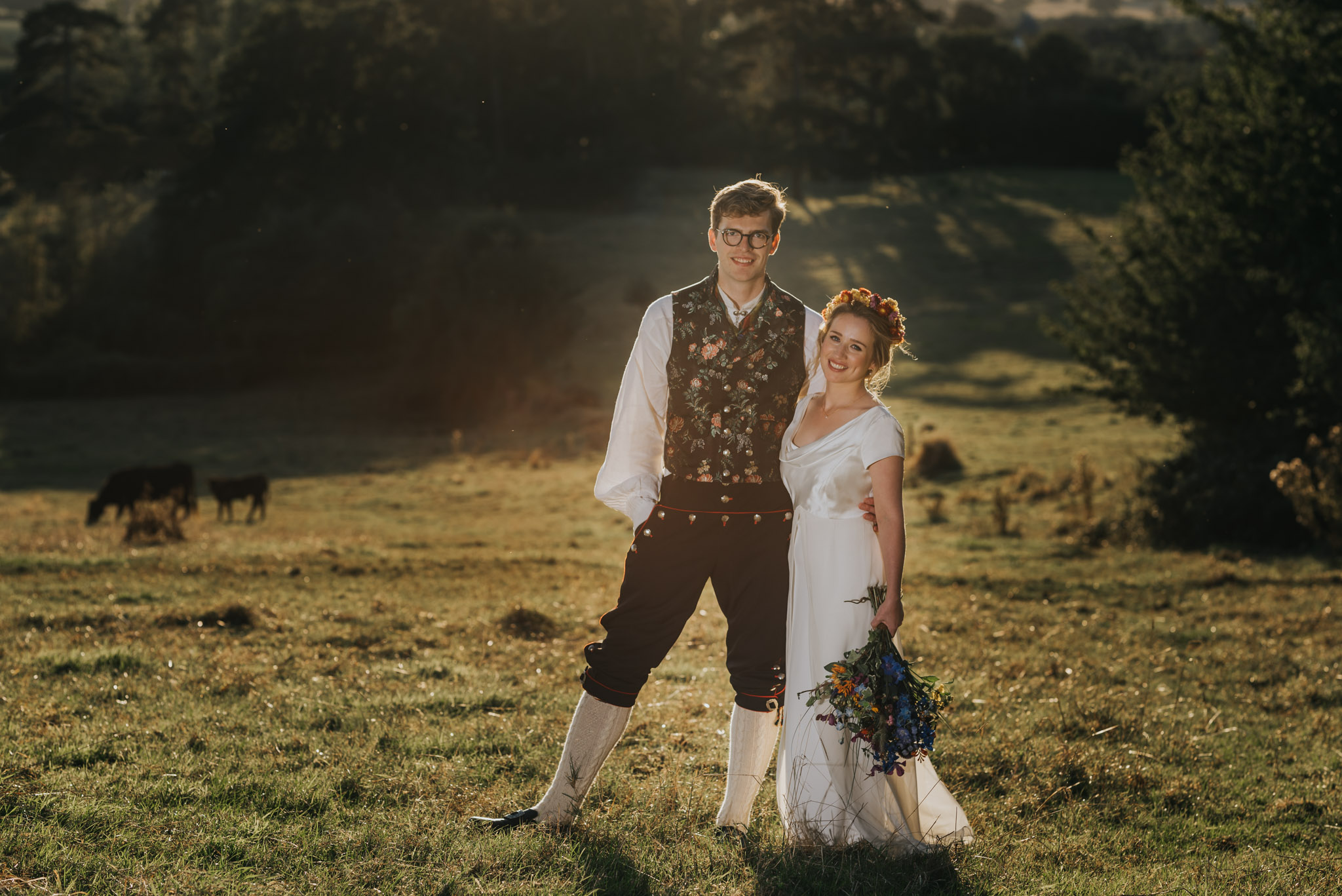 Bride and Groom in perfect light