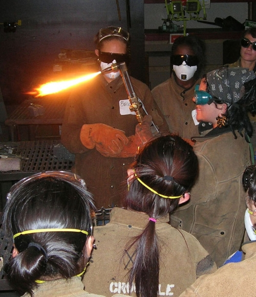 Girls Inc. girls learning to cut steel at The Crucible