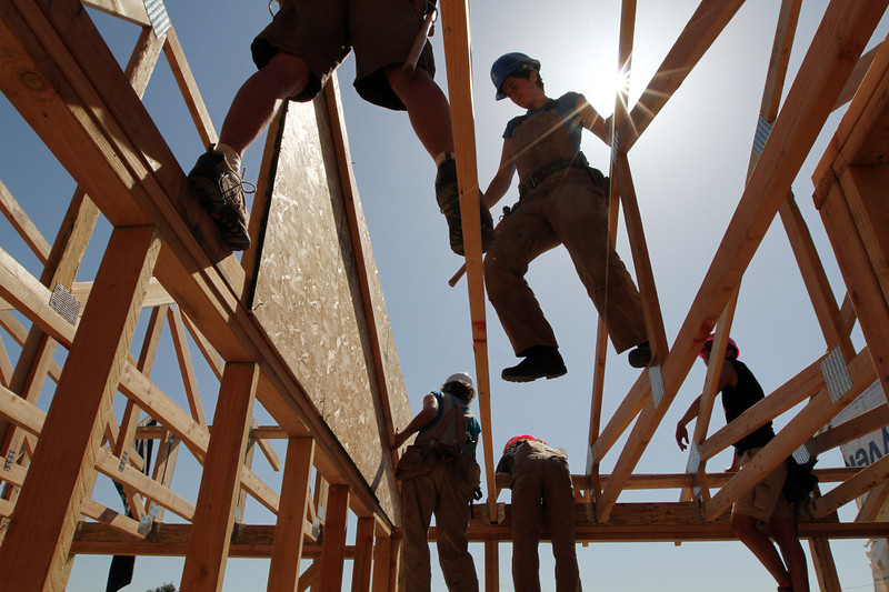 Working trusses on the Women's Build house, 2015 Build-a-thon, in Martinez, CA.
