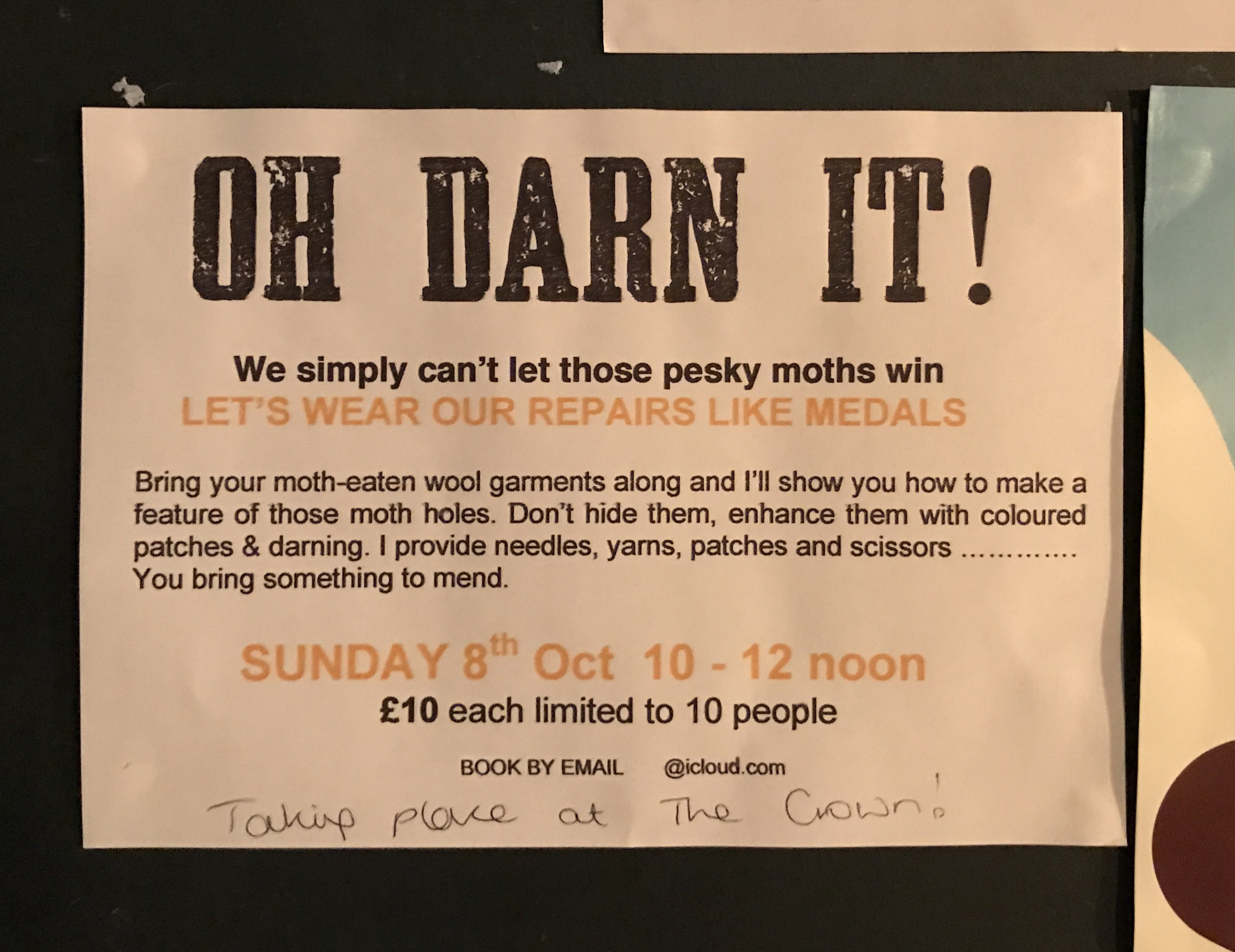 A posting on the community bulletin board at The Crown Pub in Hastings, UK in 2017