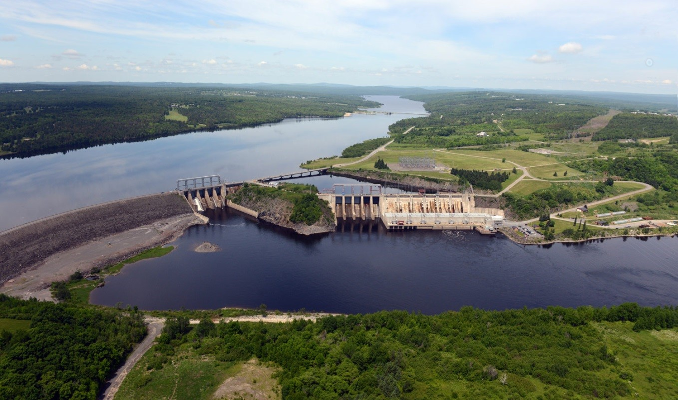 Aerial view of the Mactaquac Generating Station.  Source NB Power