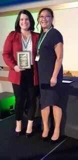 Stephanie Marshall (left) accepting the Inaugural Dr. Jack Winch Early Career Award from Andrea McEachern (right), President of the CLRA, at the National Conference & AGM Banquet, Sept 18, 2019, Kimberley, BC