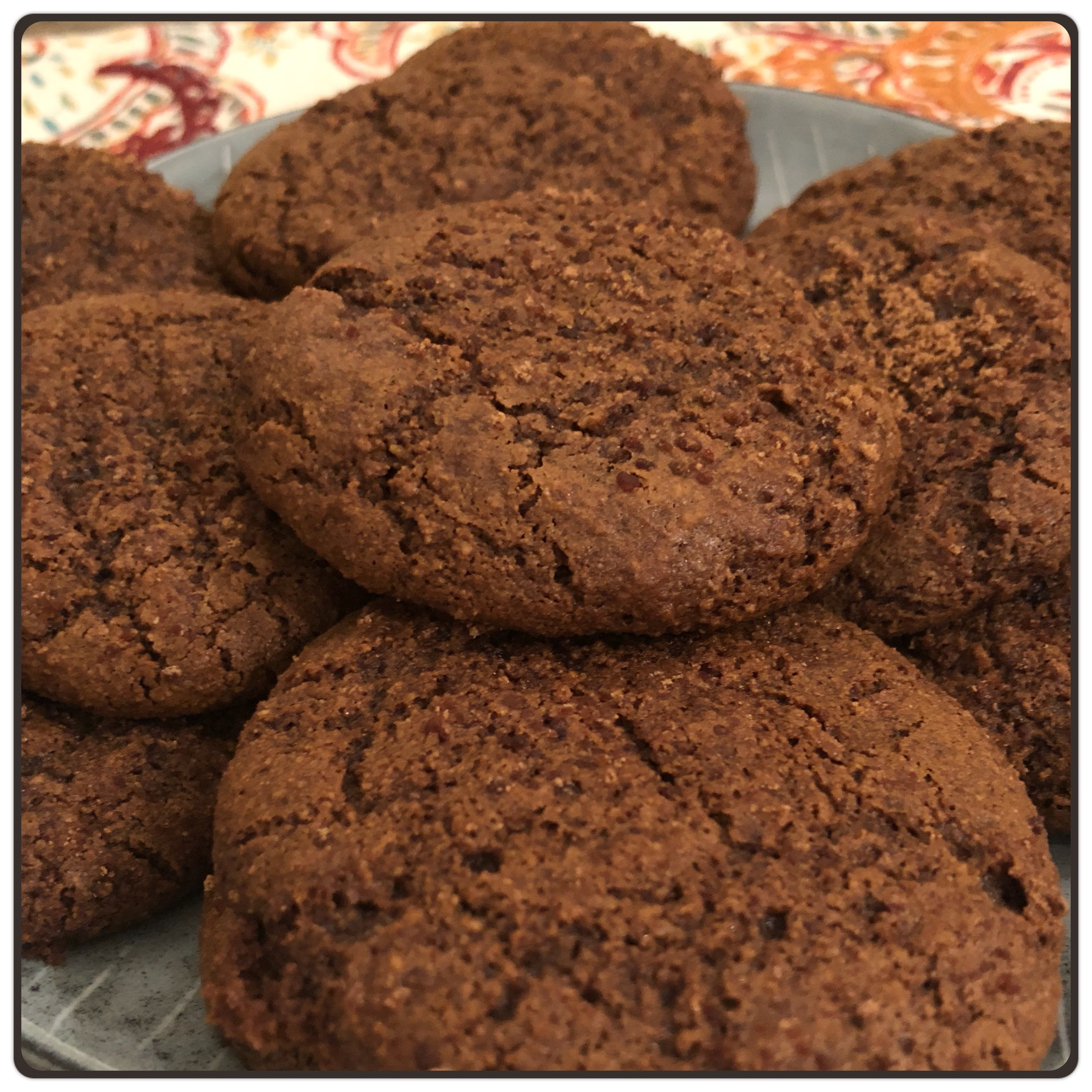 Molasses Ginger Cookies   Dry Ingredients:  2/3 cup Almond Flour 1/2 cup Coconut Flour  2 tbsp Coconut Sugar 1 tsp Ginger (ground) 1 tsp Cinnamon 1 tsp Baking Soda 1/4 tsp Cardamon 1/4 tsp Salt  Wet Ingredients:  2 Eggs 1/4 cup Blackstrap Molasses 1/4 cup Coconut Oil, melted 1 tsp Ginger (freshly grated) 1/4 cup Almond Butter 1 tsp Vanilla Extract  Directions:  1. Pre-heat the oven to 350 degrees F.    2. Mix the dry ingredients in a small bowl.  3. Combine the wet ingredients in a large bowl, mix until smooth.  4. Stir the dry ingredients into the large bowl with the wet ingredients.  5. Chill the dough for 15 minutes or until firm.  6. Line a cookie sheet with parchment paper.  7. Roll the dough into 1 inch balls, flatten with a fork.  8. Bake for 8-10 minutes, let cool on a baking rack.