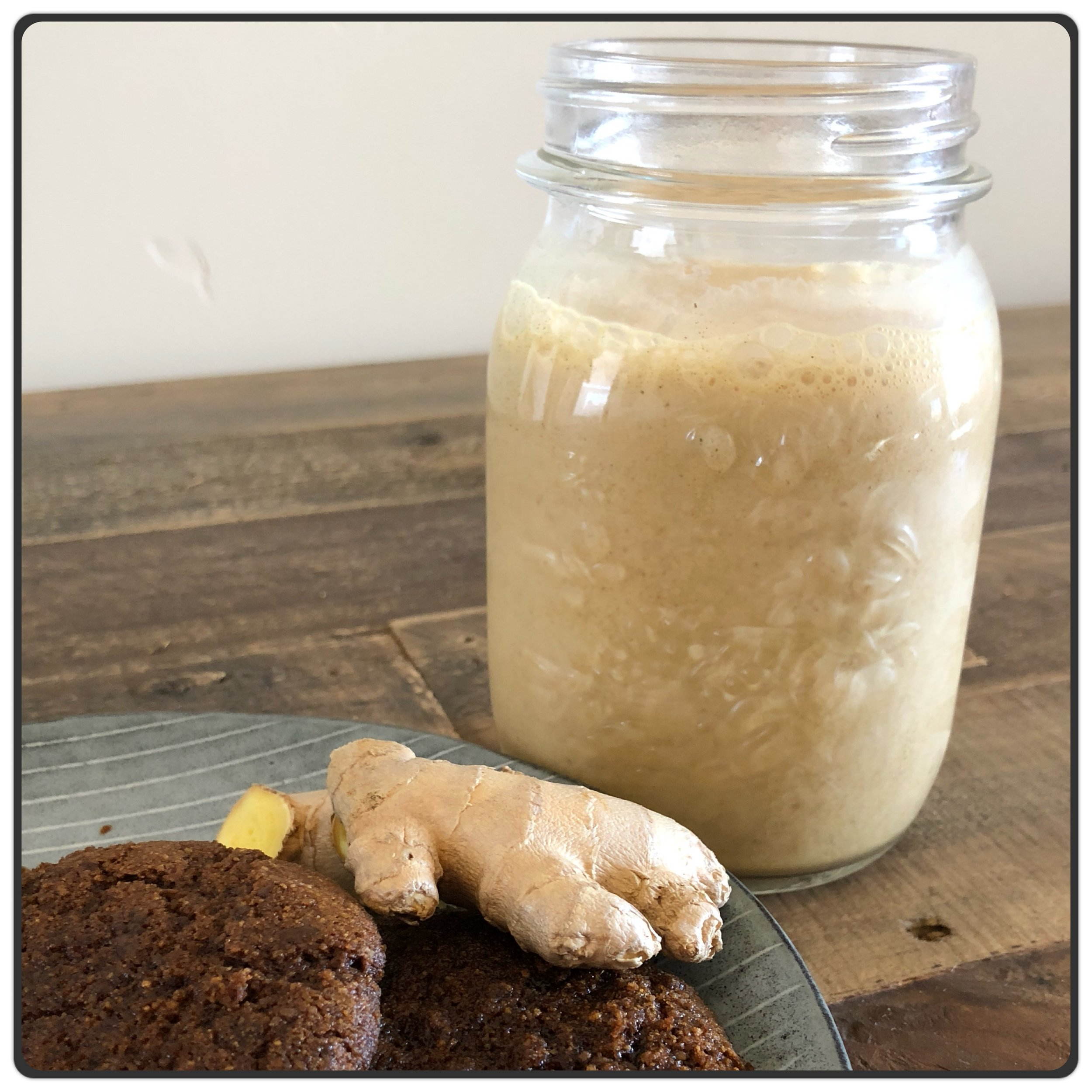 Ginger Molasses Smoothie   1/2 cup Almond Milk (unsweetened) 1/2 cup Plain Greek Yogurt (full fat) 3 tbsp Collagen Protein 2/3 cup Ice Cubes 1 tsp Ginger (freshly grated) 2 tbsp Blackstrap Molasses 1/2 tsp Cinnamon  Optional: pinch of Cardamom, 1/4 tsp Vanilla Extract  Directions:  Combine all ingredients together in a blender and blend on high until smooth.