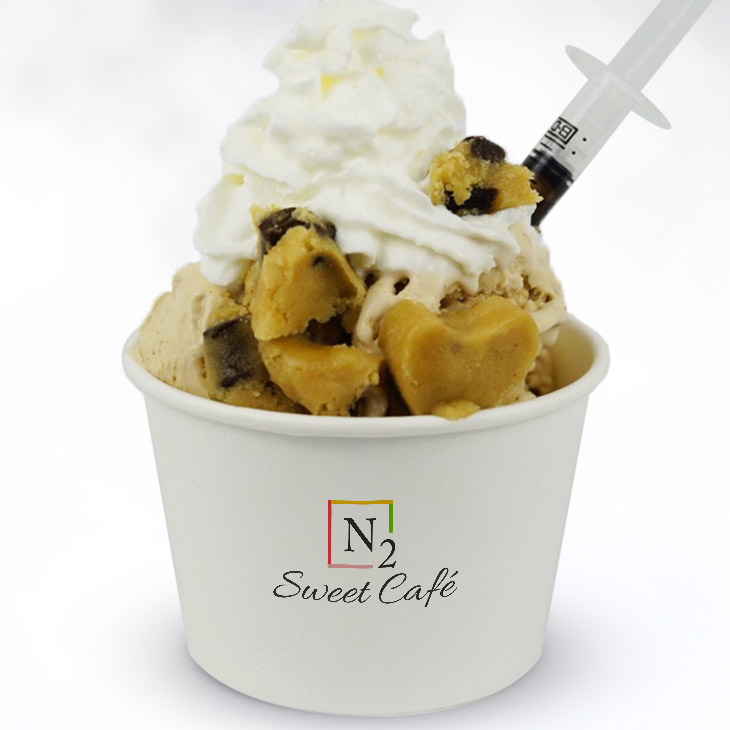 Coffee Lover - A cup of Joe in every bite!Base: Coffee ice creamToppings: Chocolate chip cookie dough, chocolate stick, whipped cream and premium chocolate drizzle