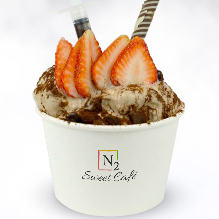 """Muddy Buddy - This """"golden nugget"""" will make you smile!Base: Nutella and Ferreo Rocher ice creamToppings: Strawberry, dark chocolate dots and chocolate stick"""