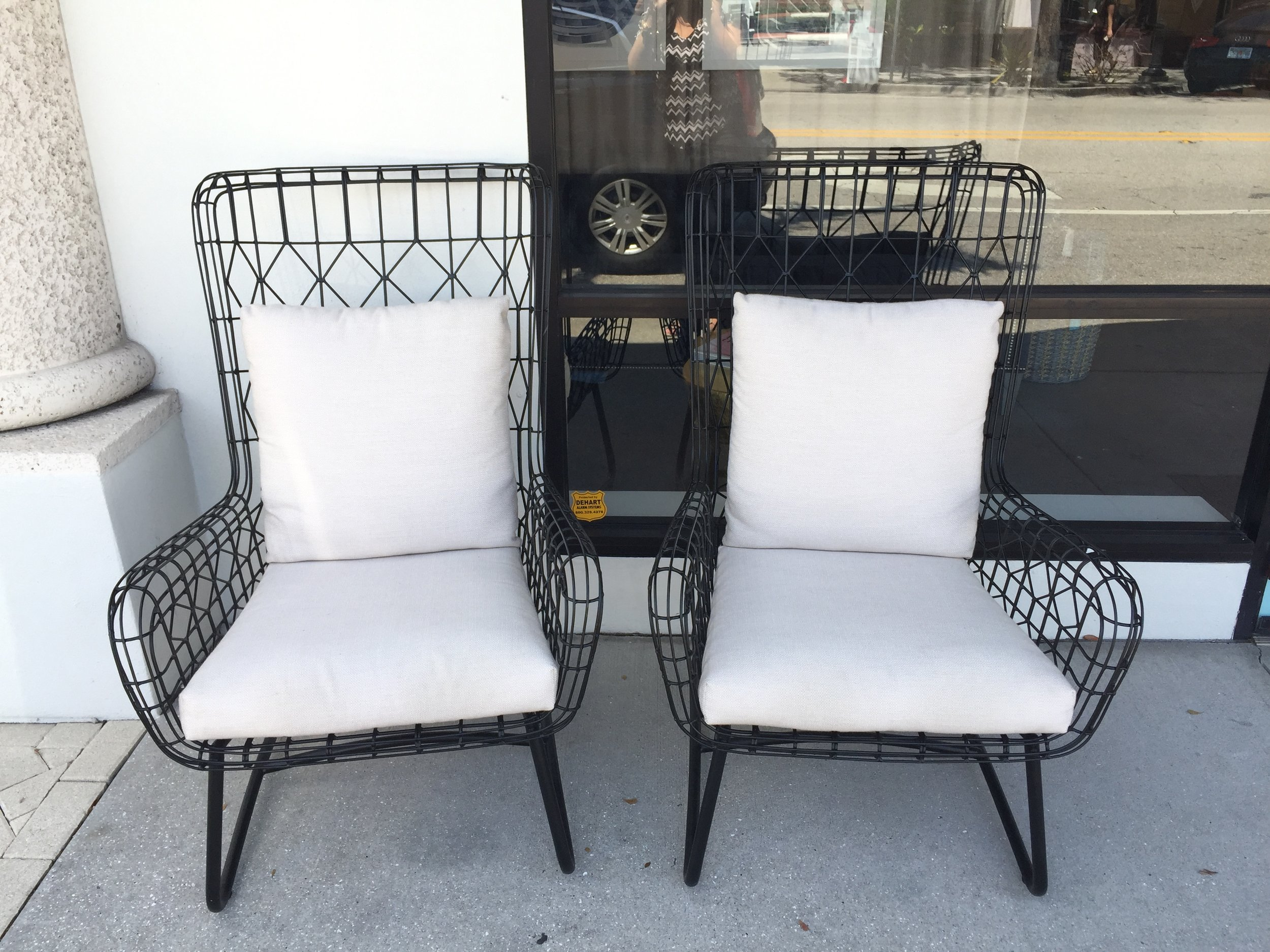 "CAPRI OUTDOOR WING CHAIRS, $XX ea  TRI-COLOR COWHIDE, METAL. DIMENSIONS 15.5""W X 17""D X 31.5""H (24.5""SH)  SPECIAL ORDER ITEM. AVAILABLE IN DIFFERENT OUTDOOR FABRICS. POWDER COATED STAINLESS STELL FRAME. PRICES VARY BASED ON FABRIC. SHOWN IN GRADE C - IN/OUT SAND WEAVE"