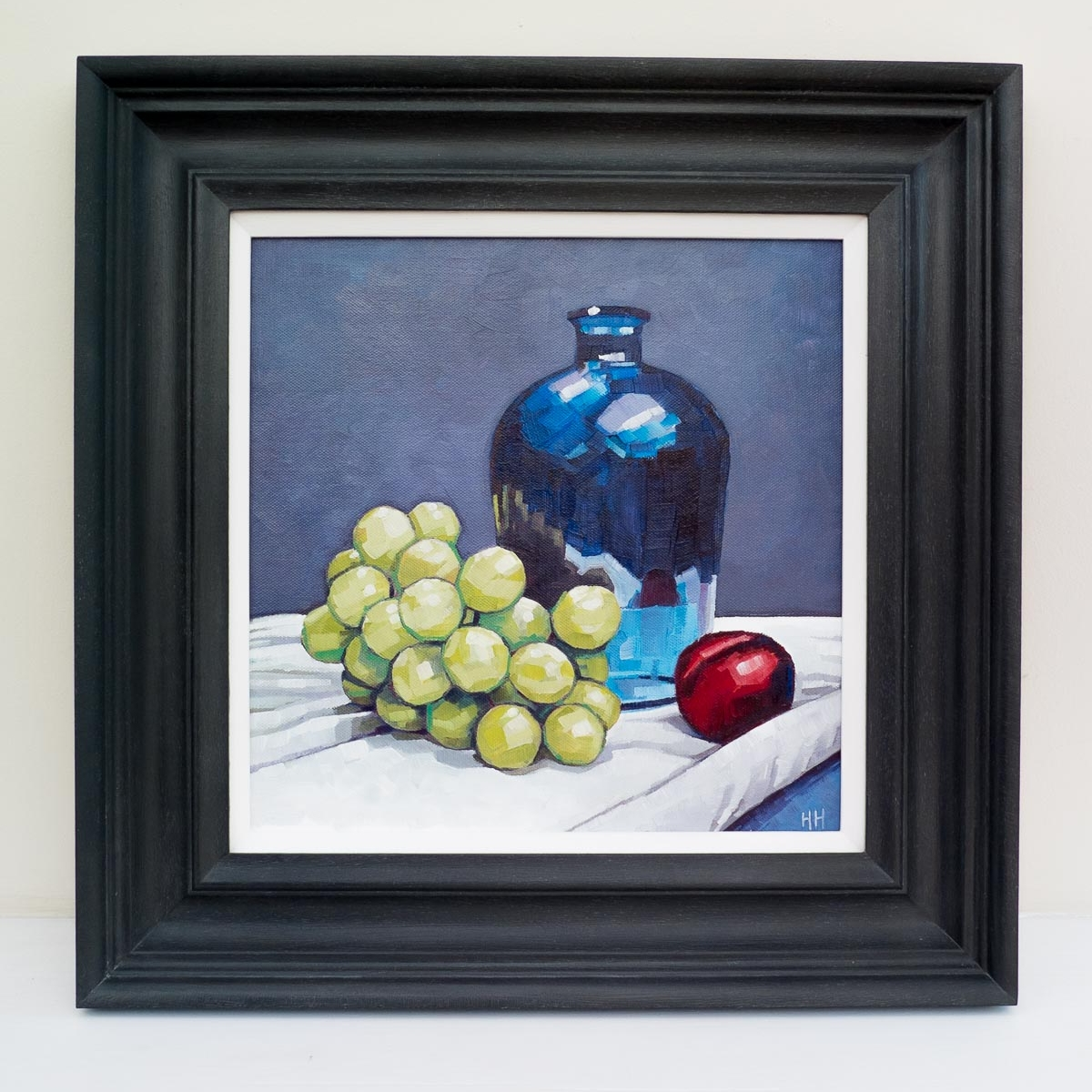 SOLD  - 'Grapes, blue vase and a plum'