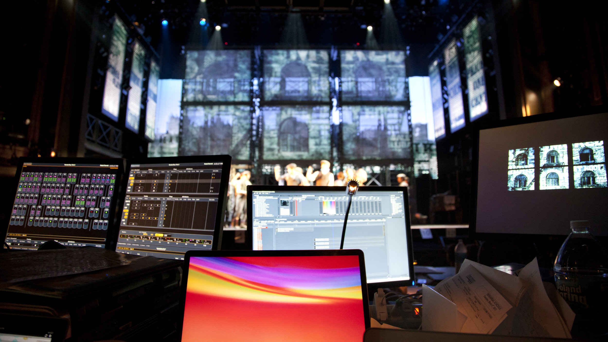 Sven's production table in the Nederlander Theater for the Broadway run of  Newsies