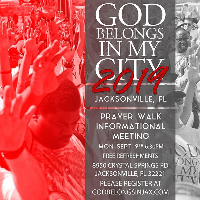 @gbimcjax 2019  Prayer walk informational meeting Monday, Sept 9th @ 6:30pm Sign up - Leaders only.  Link in bio to sign up. https://www.godbelongsinjax.com/meeting . . . . . . #gbimcjax19 #prayerwalk #jacksonville