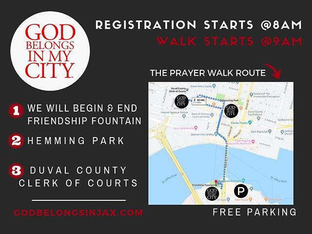 Details on the prayer walk route! Godbelongsinjax.com  #gbimcjax19