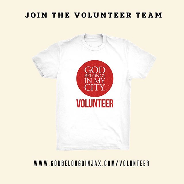 Join the volunteer team!  Receive a FREE GBIMC shirt!  https://www.godbelongsinjax.com/volunteer