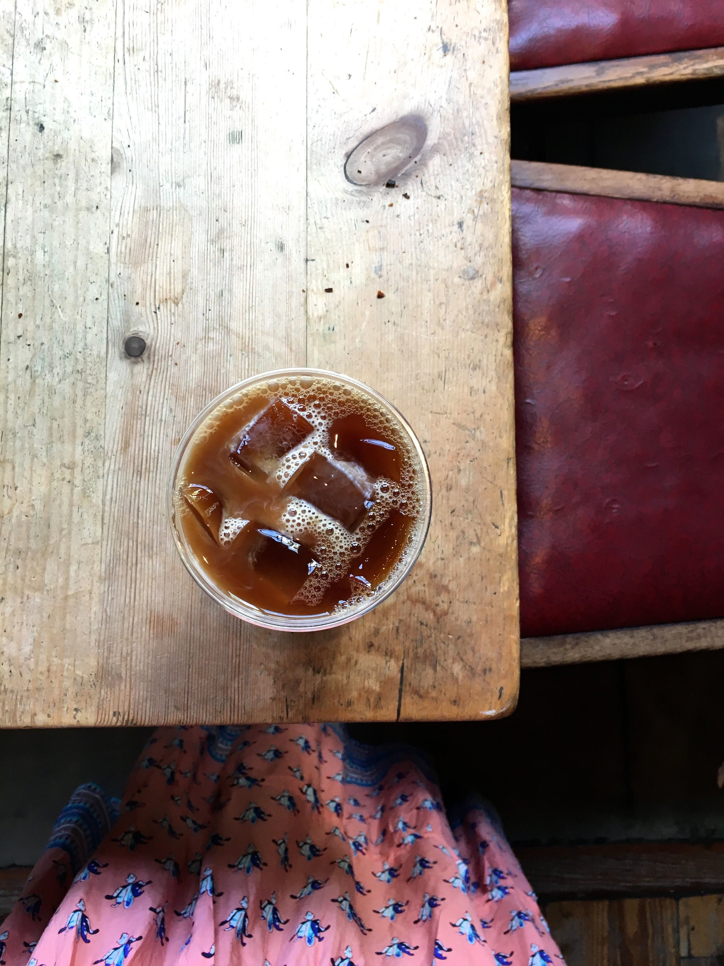 My beverage?You got it. Iced coffee. -