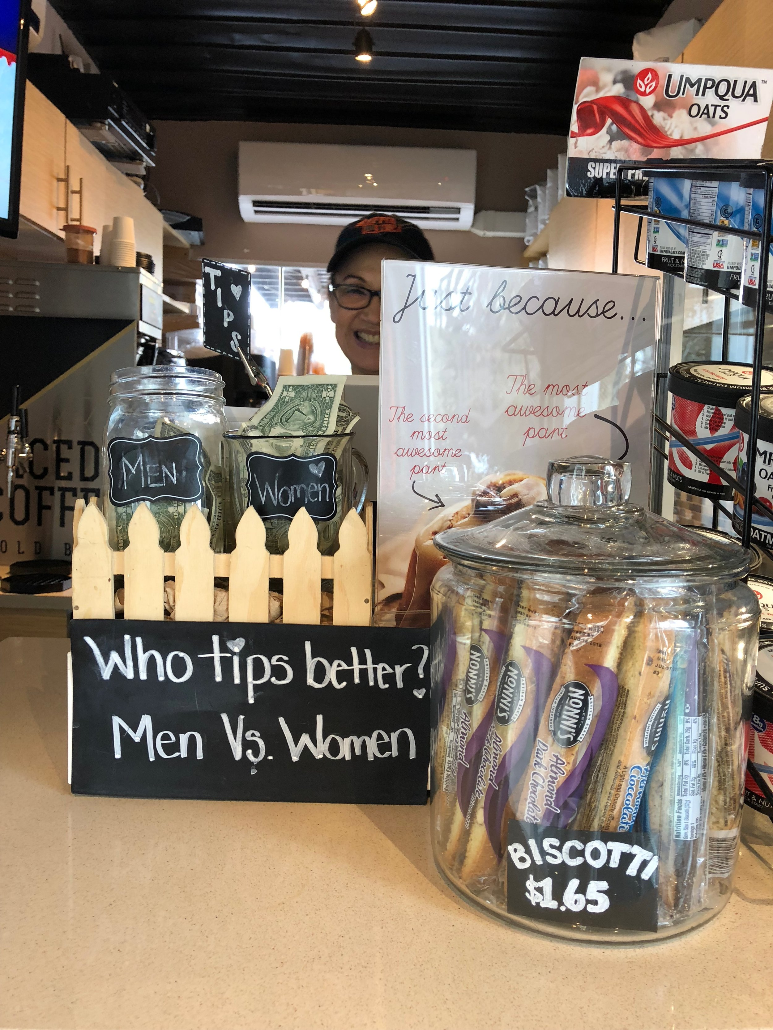 This tip jar is just genius. And women clearly tip better! -