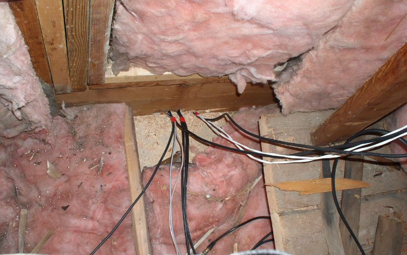 open wire connections  Visible open wire connections in the crawl space and attic.